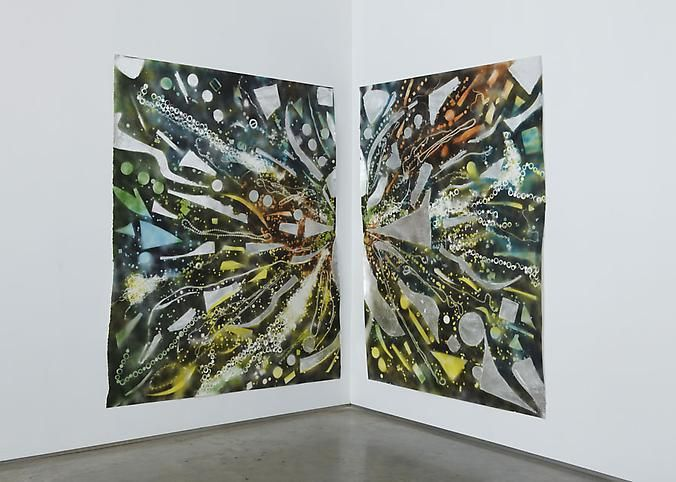 Mosaic Drawing Shard Vision (All Colors and Silver), 2010, Spray paint, acrylic and silver leaf Corner diptych
