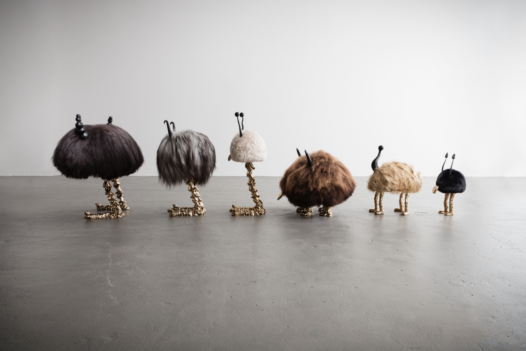 group of beasts made by Niki and Simon Haas for a Chelsea gallery exhibition