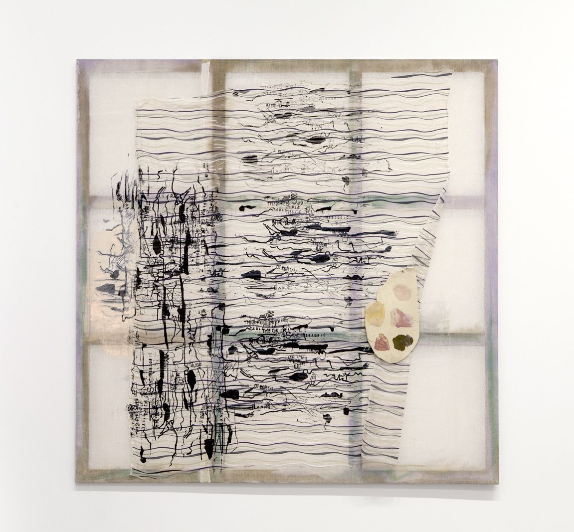 a silkscreen artwork by jessica jackson hutchins of calligraphy or musical notations