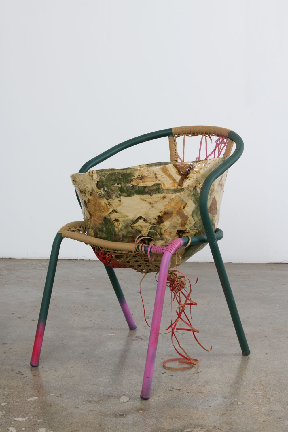 a chair with a ceramic artwork sculpture by jessica jackson hutchins for sale