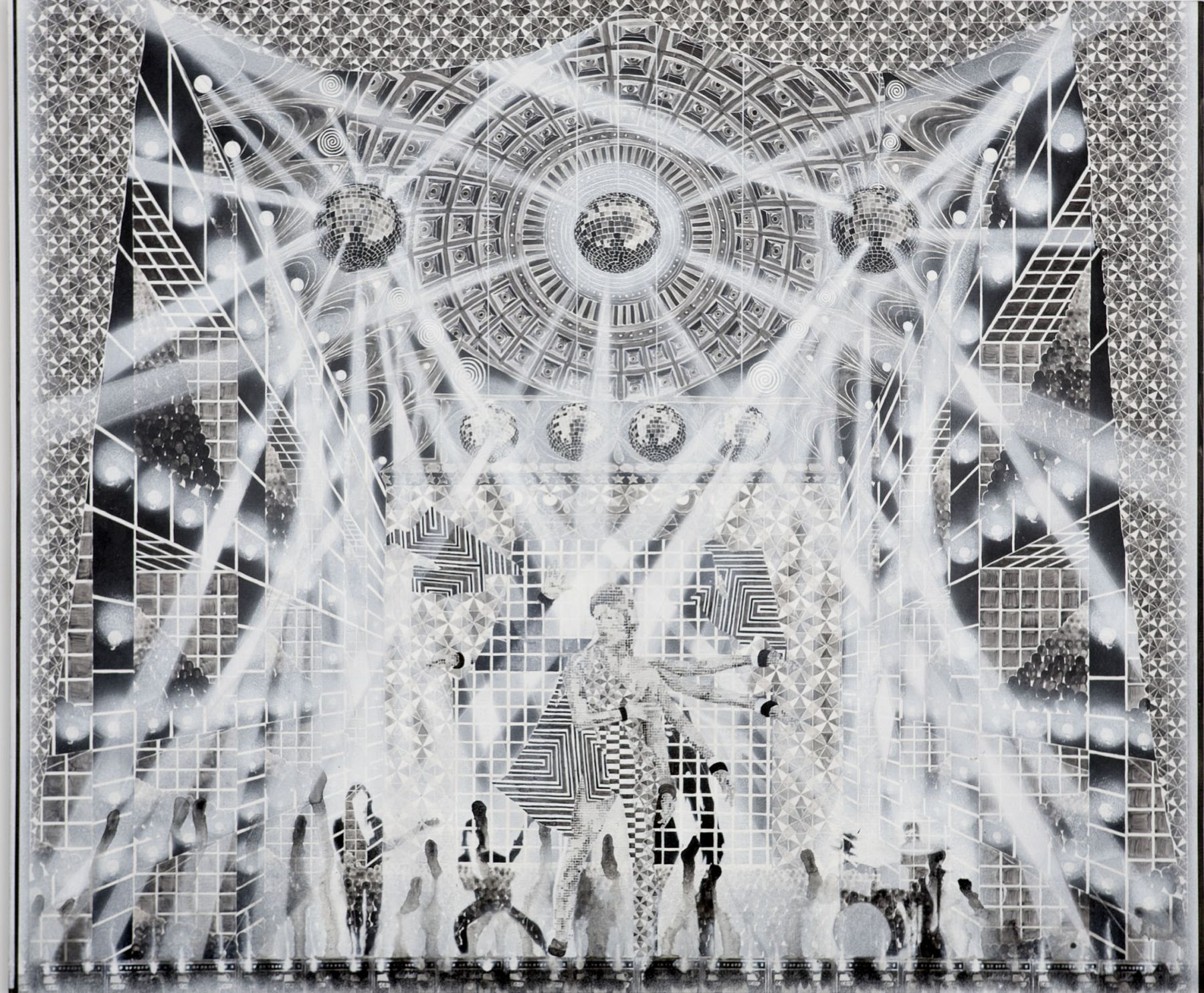 black and white concert scene with disco balls and musicians by barnaby furnas