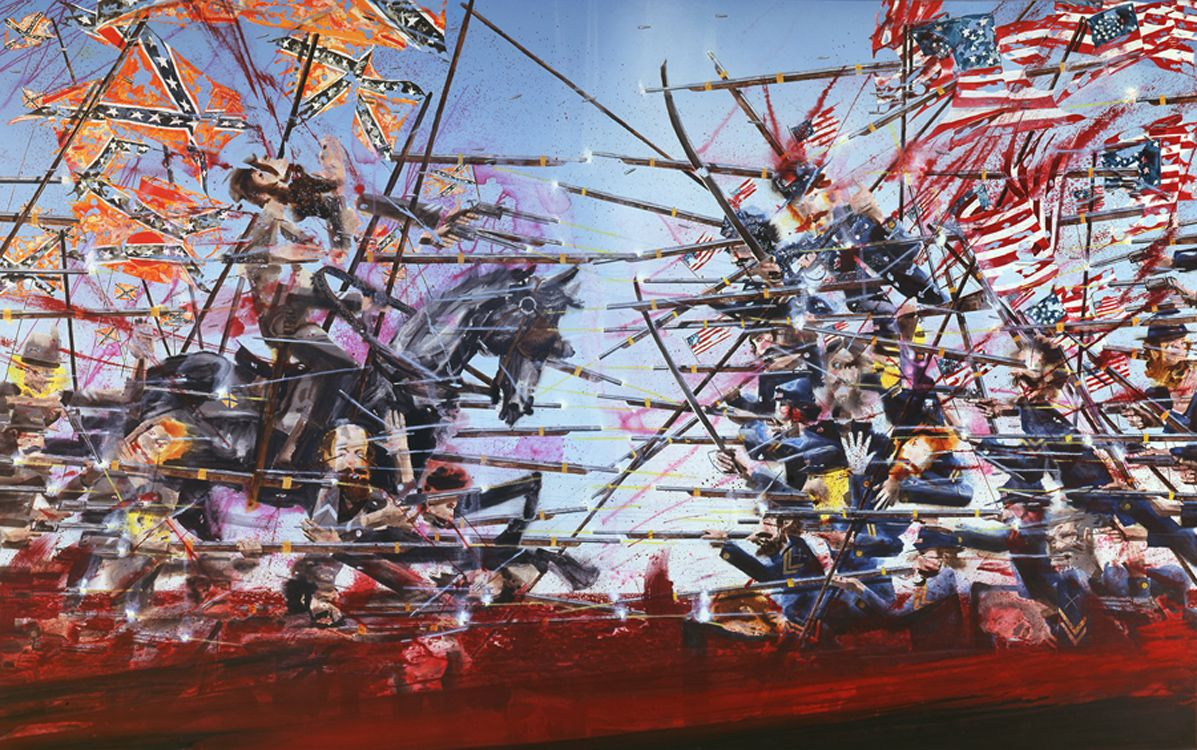 an abstracted contemporary battle scene painting of the civil war by barnaby furnas