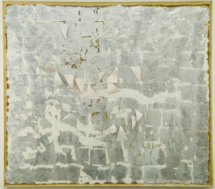 mixed media canvas in grey by mike cloud
