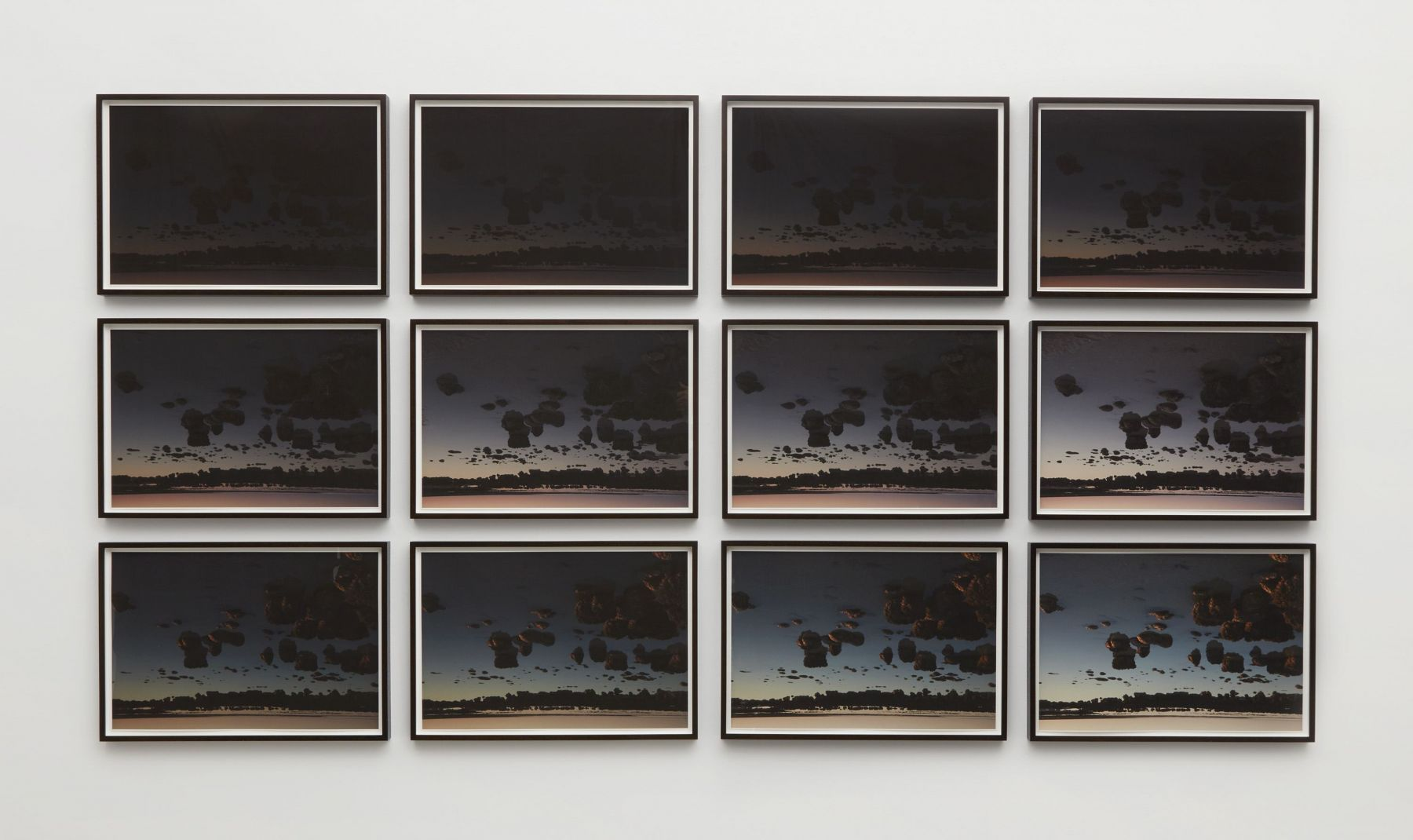 series of photographs of clouds by thiago rocha pitta in a chelsea art gallery