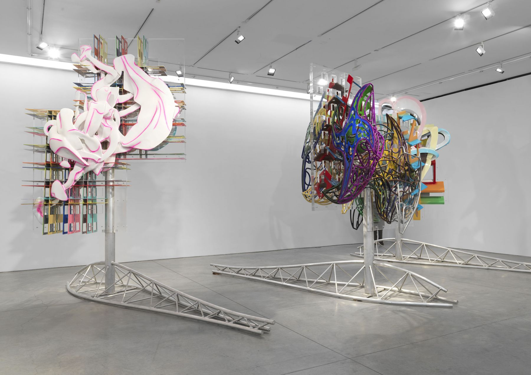 Two kinetic sculptures made by Frank Stella for sale at a Chelsea gallery