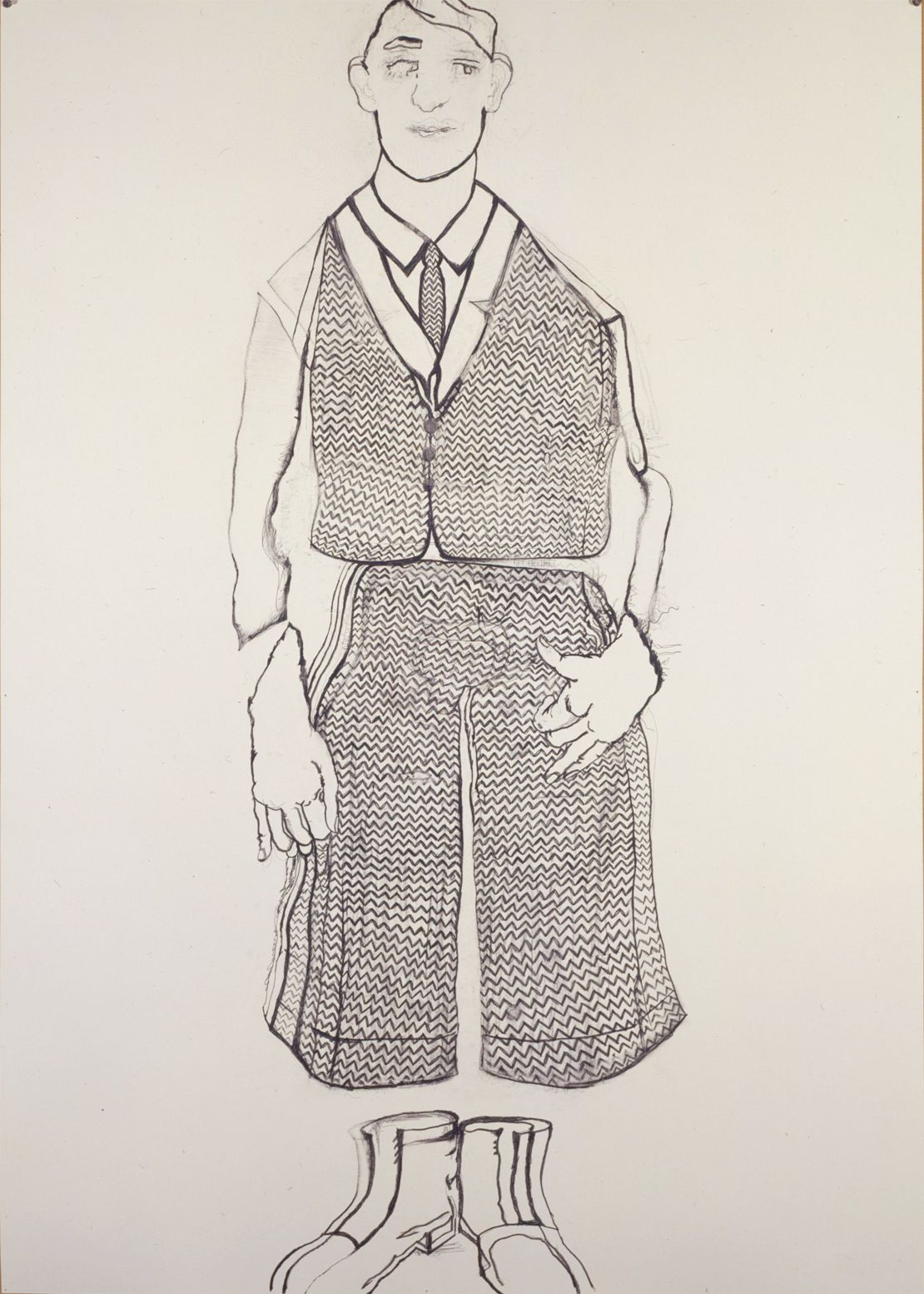 a drawing of a boy for sale in a contemporary art gallery by Hannah van Bart