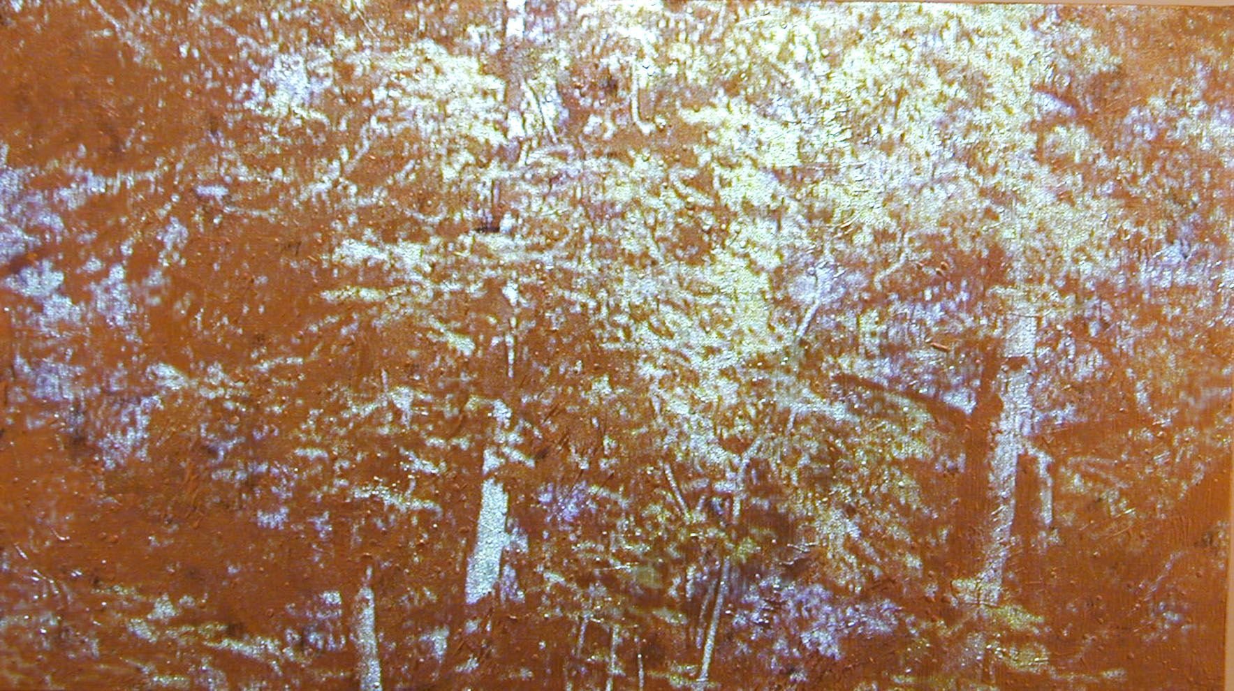 Gold / Landscape #3, 2003, Video projection, oil and enamel on linen