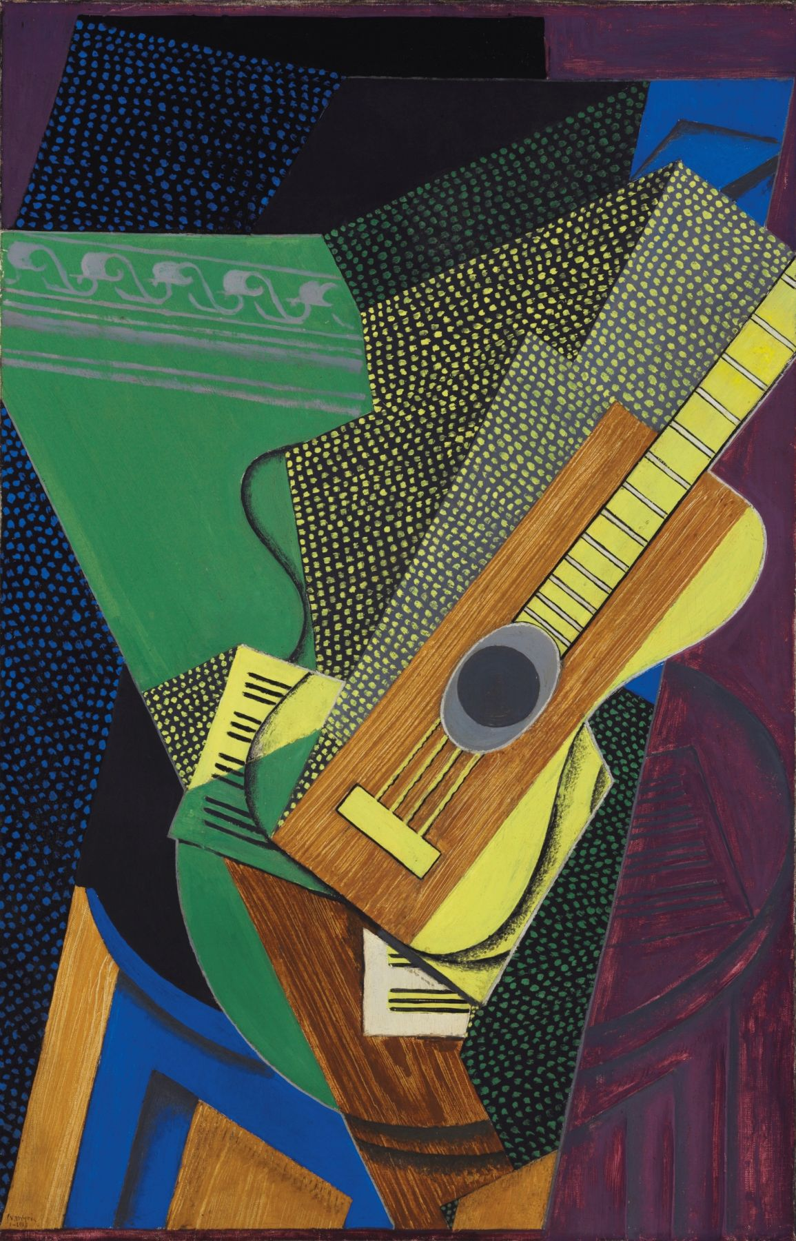Juan Gris, Guitare sur une table, 1916 Oil on canvas 92.1 x 59.4 cm. (36 1/4 x 23 3/8 in.) This painting depicts a guitar resting on a table with tilted and angled translucid color planes in the background. The guitar seems to be in a darkened room with a shaft of light as if streaming through an open door.. More than a pretext for a still life the artists transfigured this instrument into the pictorial equivalent of a visually fully composed concerto.