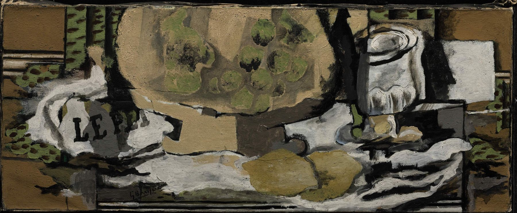 Georges Braque, Verre et compotier, 1922 Oil on canvas 26.5 x 65.5 cm. (10 3/8 x 25 3/4 in.) This painting represents in a cubist manner a glass, marmelade jar in white tons, there are green dots that refers to fuit shapes and a folded newspaper.