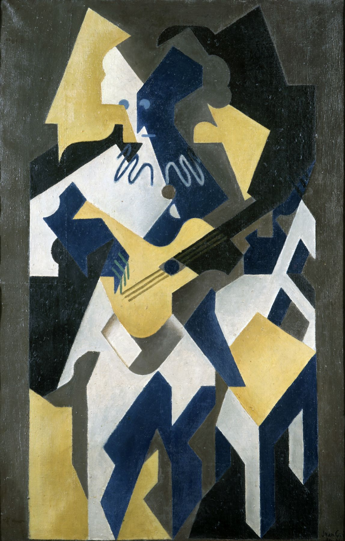 Juan Gris, Arlequin à la Guitare, 1918 Oil on canvas 100 x 65 cm. (39.4 x 25.6 in.) This painting is in white, yellow, blue, grey and black tons, it represents in a cubist manner Harlequin playing the guitar.