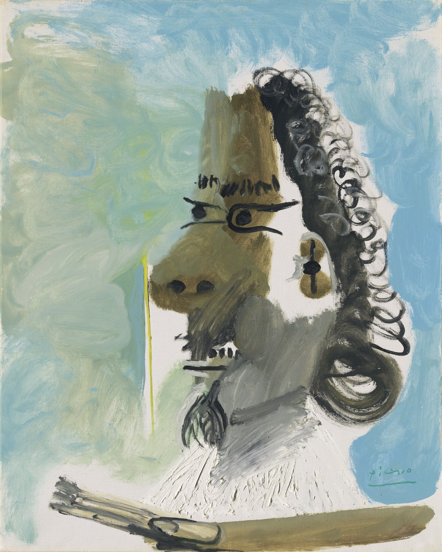 Pablo Picasso, Le Peintre, 1967. Here, Picasso has combined the two leading protagonists of this period: the musketeer and the artist. The profile of a curly haired, moustachioed man with an ornate white ruffled collar dominates the large canvas. He is holding a palette and brush in his hand, leading the viewer to assume that he is standing in front of an unseen easel, engaged in the act of painting.