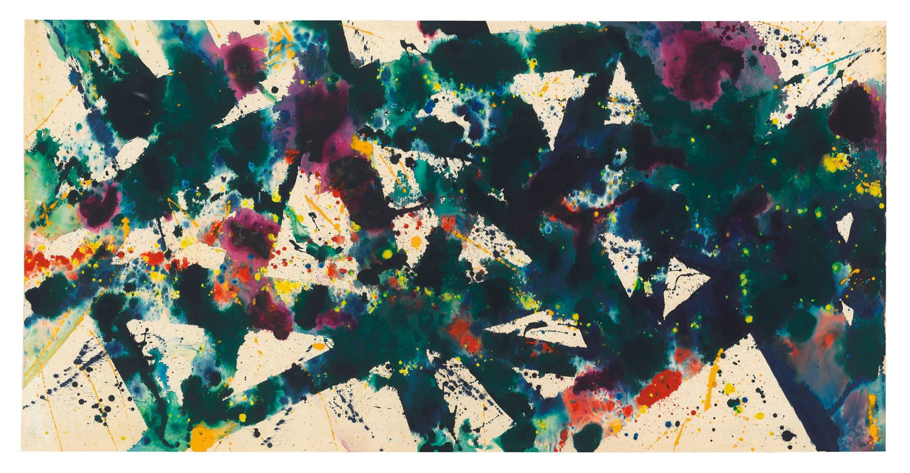 Sam Francis, Untitled (SF77-120), 1977-8 Acrylic on rice paper laid down on paper laid down on canvas, unframed, 94.5 x 186.7 cm. (37 1/4 x 73 1/2 in.)  ©Helly Nahmad Gallery NY