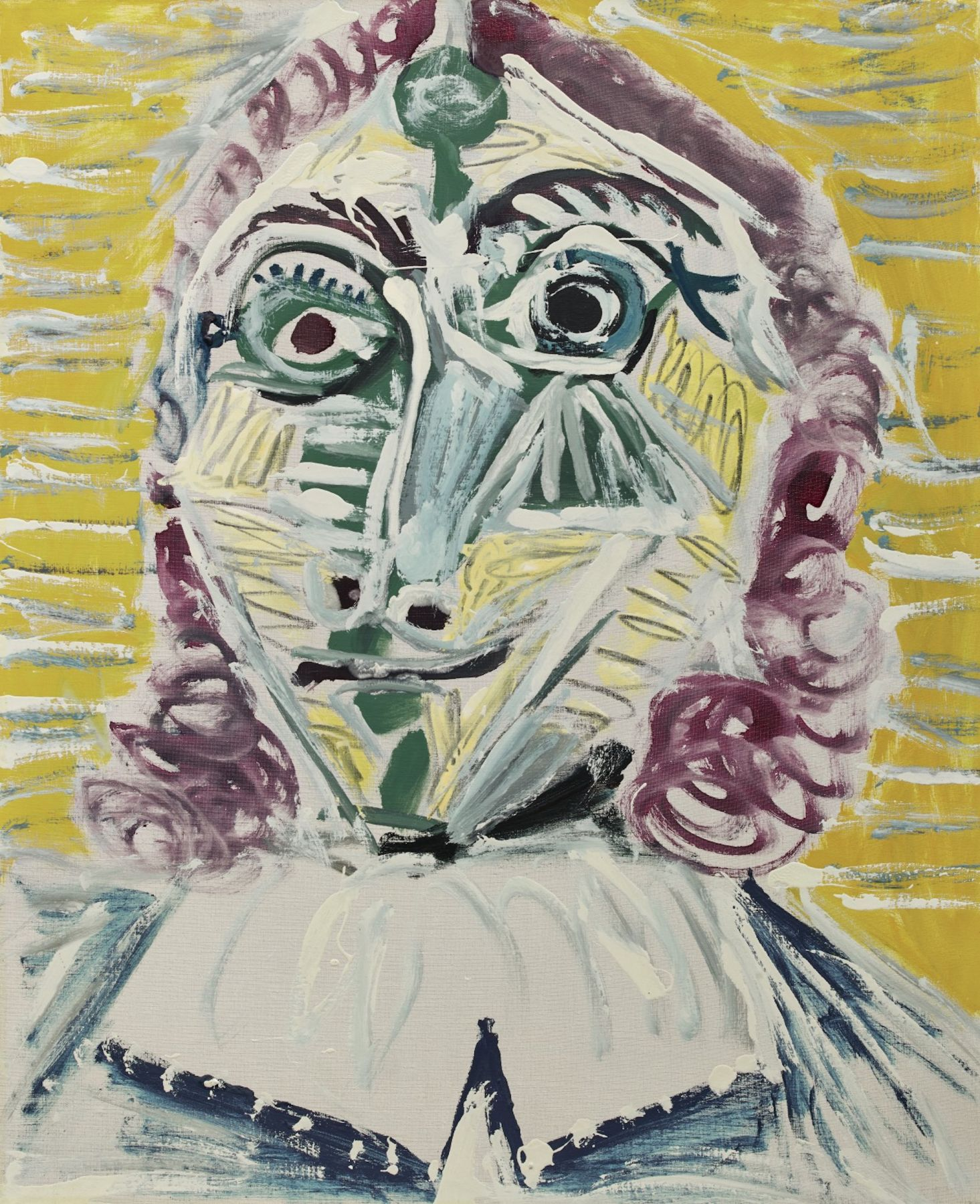 Pablo Picasso, Mousquetaire. Buste, 1967. This painting represents a portrait of a musketeer, which is one of the archetypal images of Picasso's late work. The richness and spontaneity of his brushwork – exemplified in the thick impasto and energetic working of Mousquetaire. Buste – are distinctly reminiscent of Van Gogh.