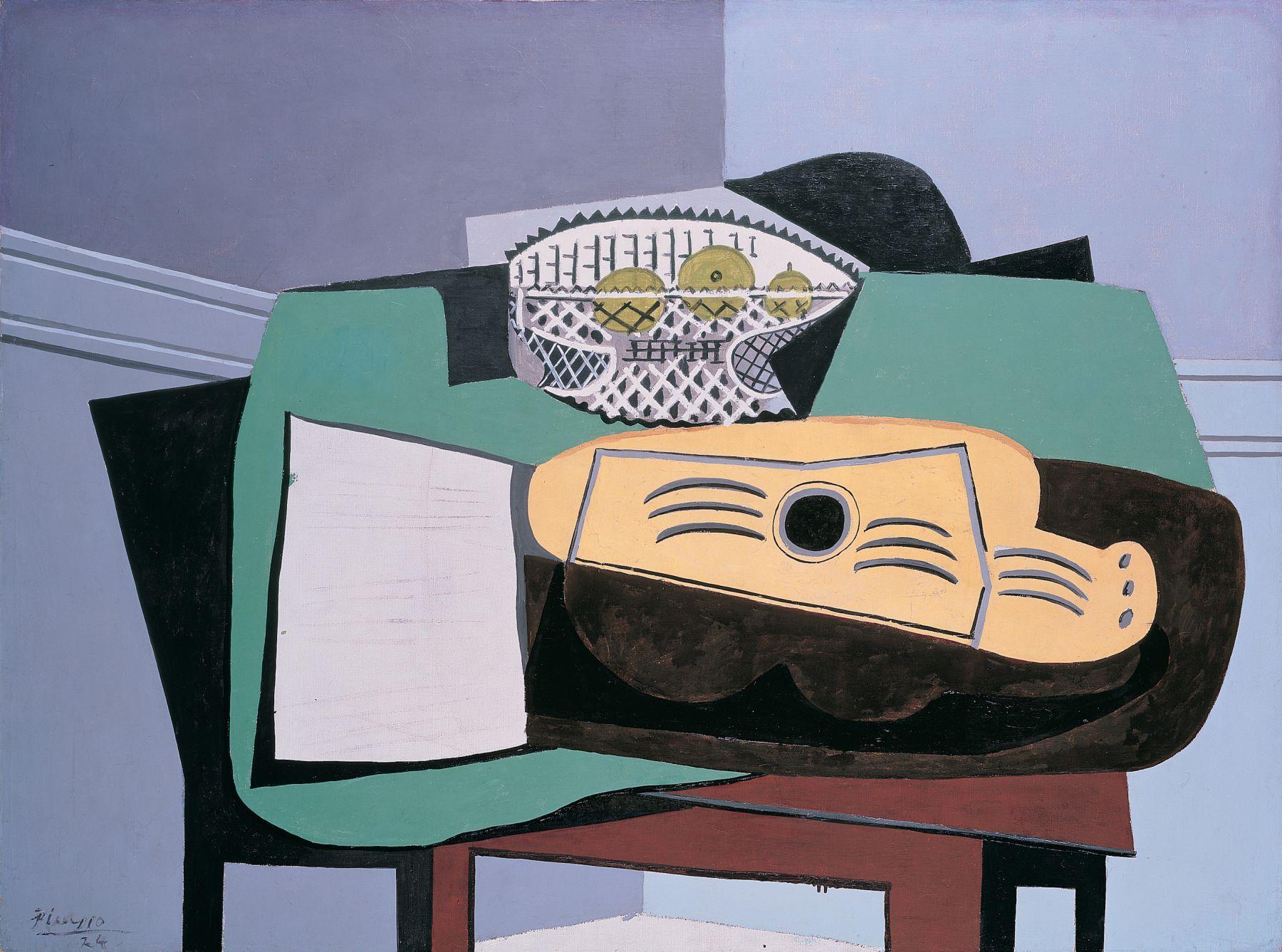Pablo Picasso, Partition, Guitare, Compotier, 1924 Oil on canvas 97.1 x 130.1 cm. (38 1/4 x 51 1/4 in.)