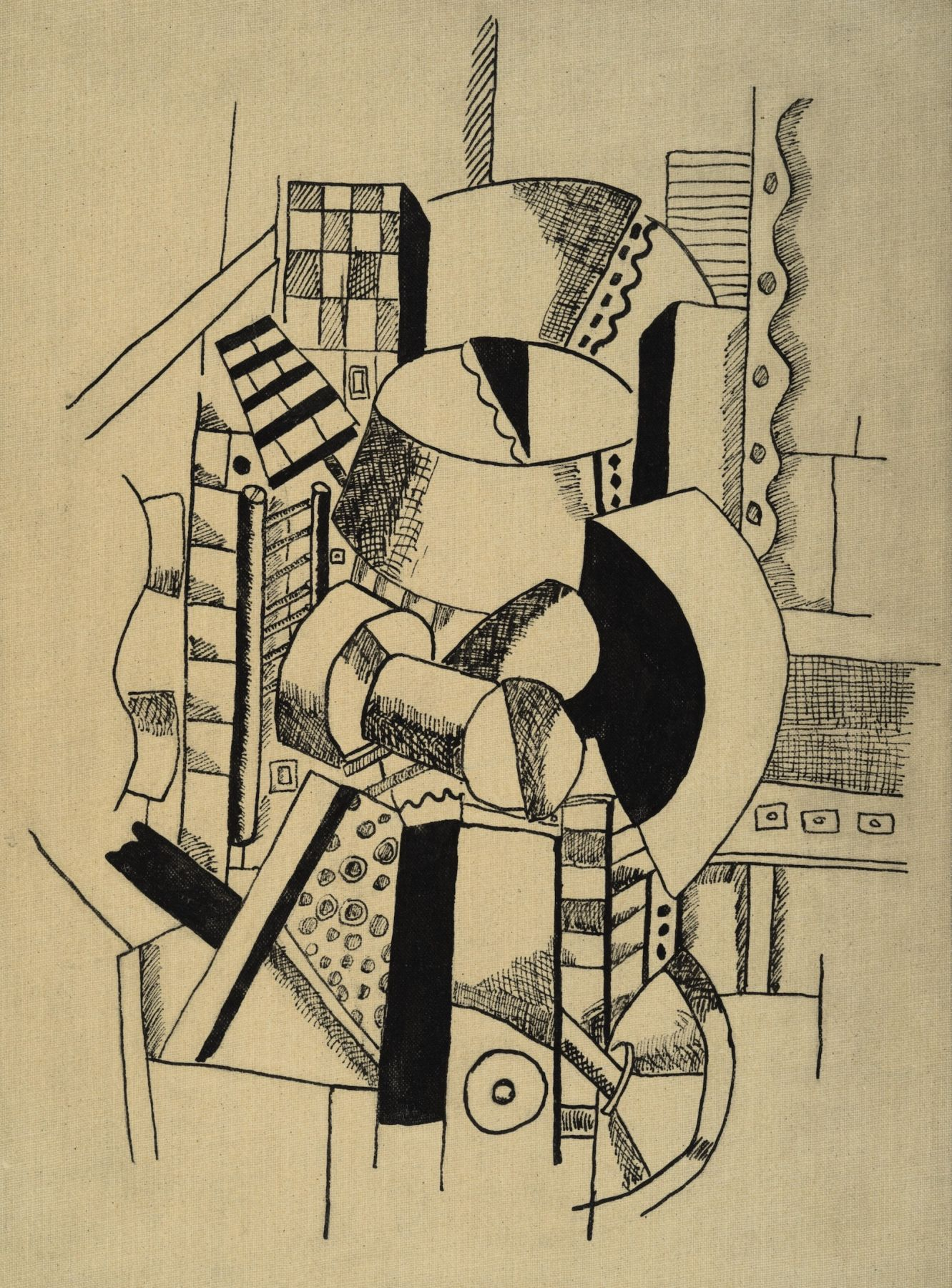 Fernand Léger, Composition aux eléments mécaniques, 1917-18 India ink on linen laid down on board 25.7 x 18.8 cm. (10 1/8 x 7 3/8 in.)