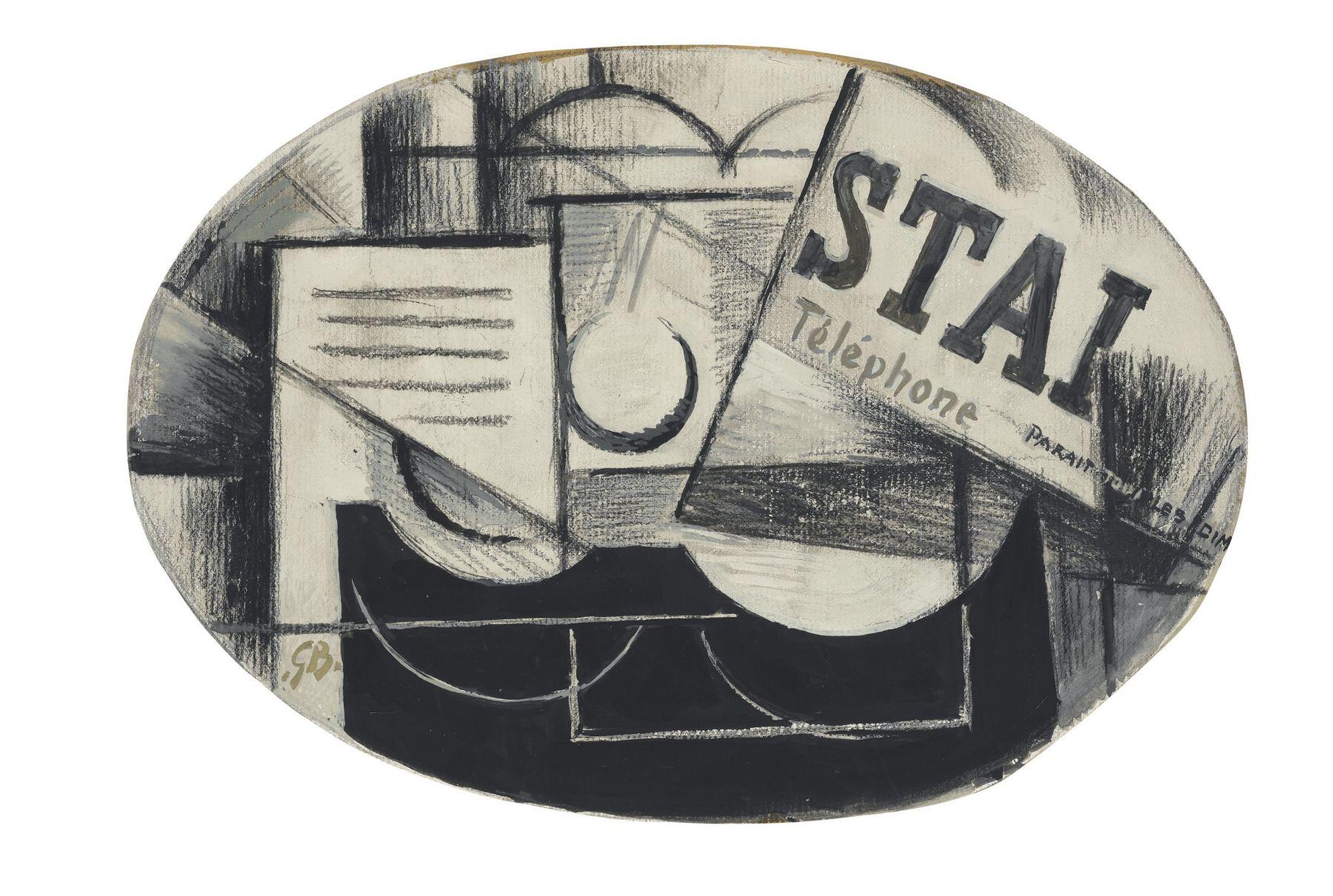 Georges Braque, Guitare et journal: STAL (recto); Femme à la mandoline (verso), 1913 gouache, charcoal and pencil on board 28 x 42 cm. (11 x 16 1/2 in.)