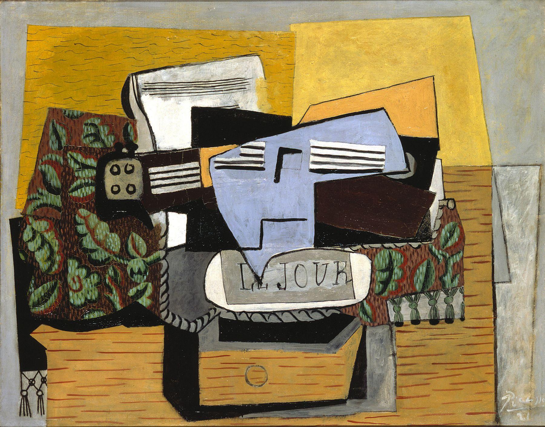 Pablo Picasso, Violon et Journal sur un Tapis Vert, 1922 Oil on canvas 73.3 x 92.1 cm. (28 7/8 x 36 1/4 in.)