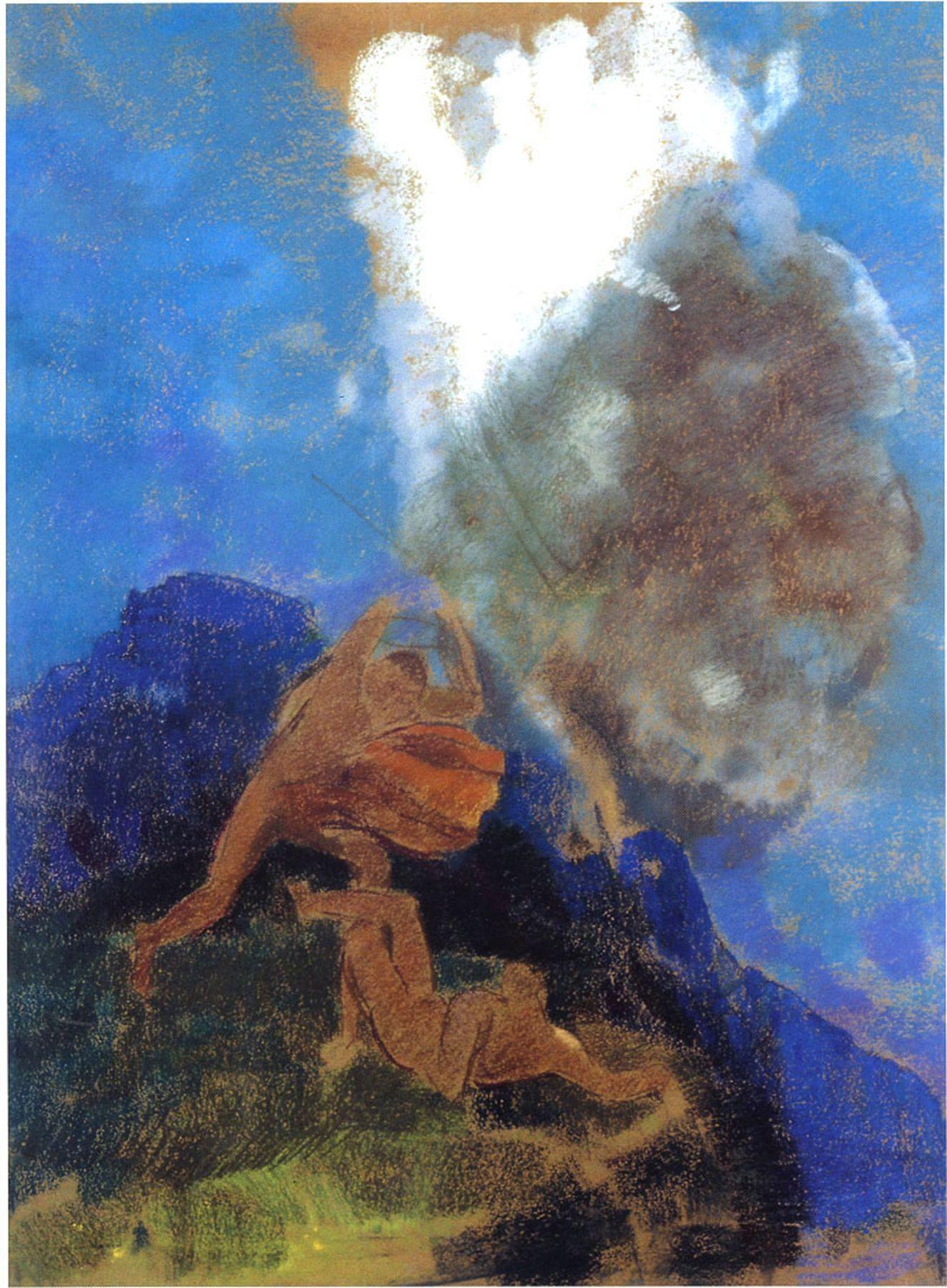 Odillon Redon, Caïn et Abel Pastel on Bistre paper 80 x 60 cm. (31 1/2 x 23.6 in.)