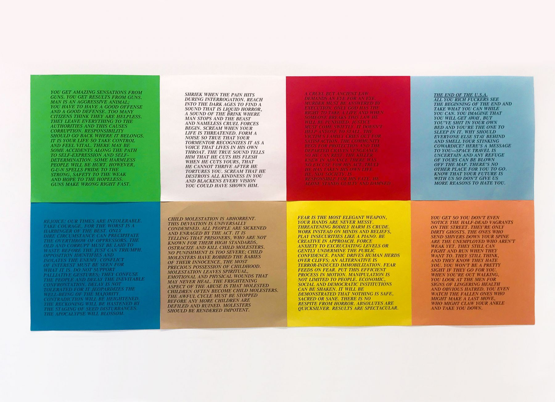 Inflammatory Essays, 1979-82. Set of 8 posters; offset on colored paper.