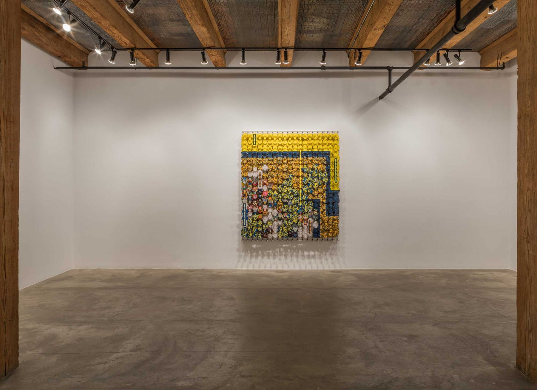 Installation view at Rhona Hoffman Gallery/Jacob Hashimoto/The Dark Isn't The Thing To Worry About/2017