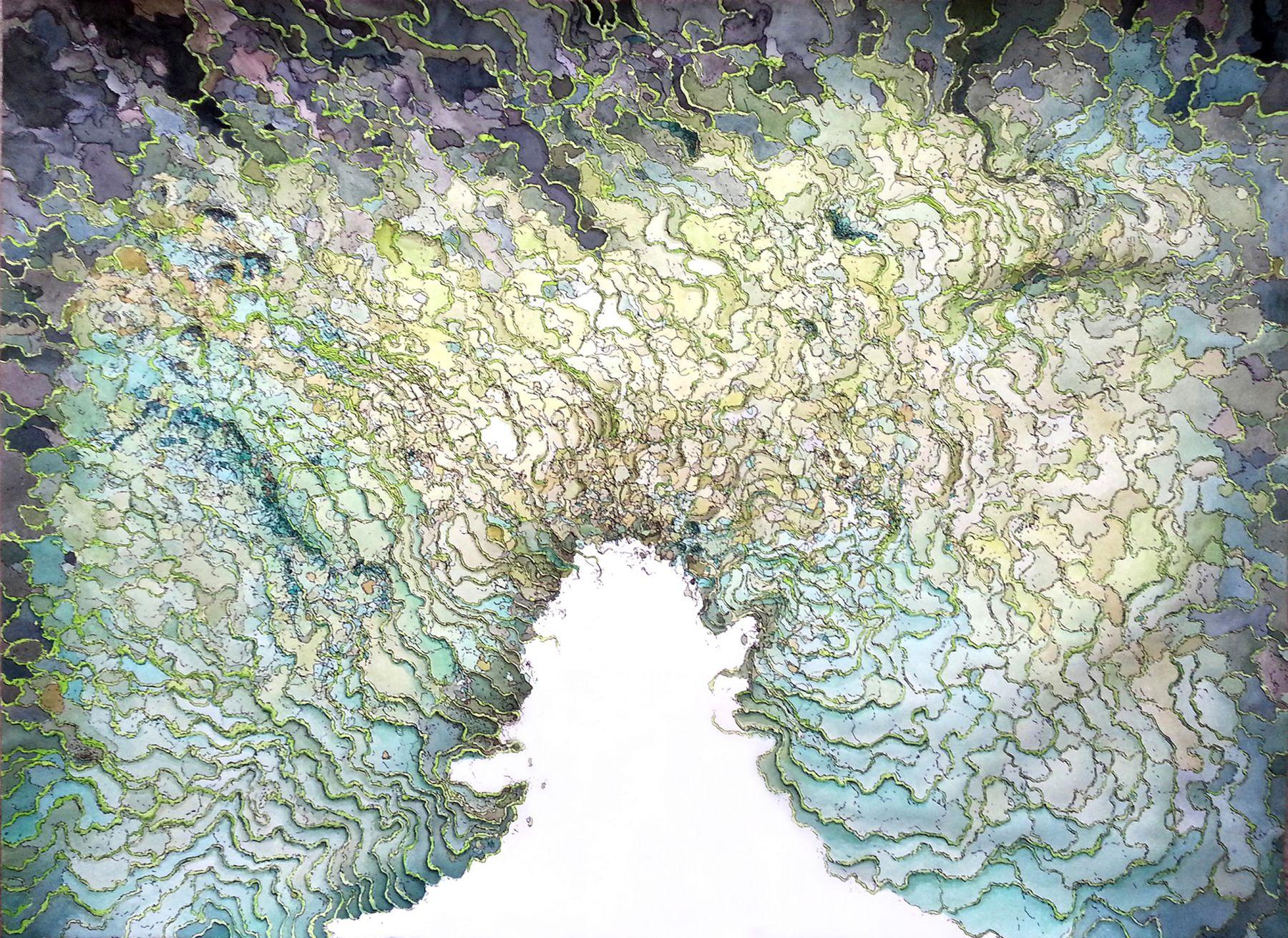Becca Booker, Ridges- Greens & Yellows, 2015