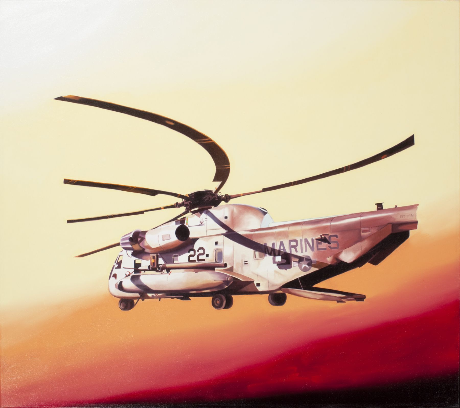 megan rye, Red Helicopter, 2011, oil on canvas, 35 x 40 inches