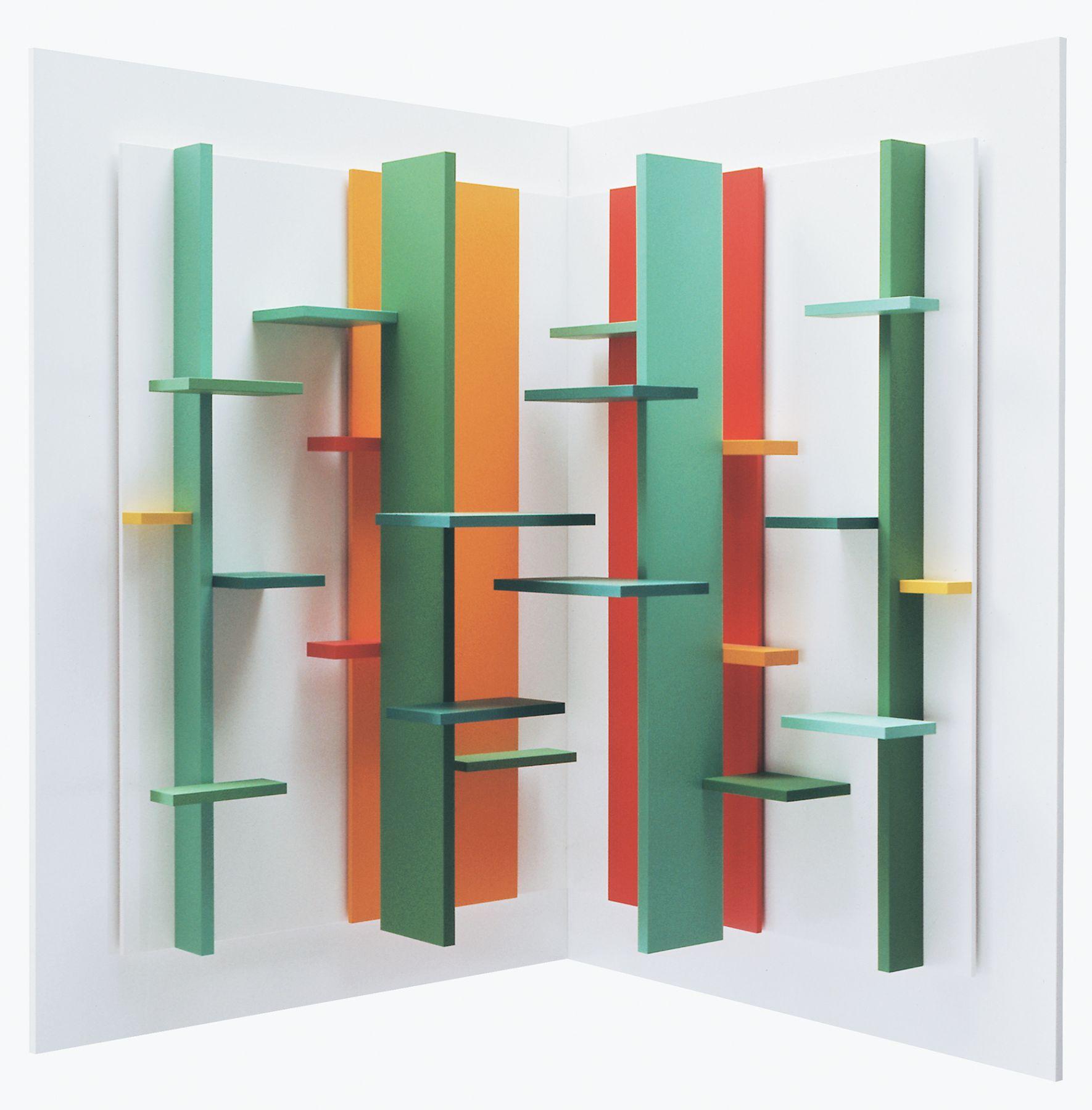 Eli Bornstein, Double Plane Structurist Relief No.2-I, 1966-71, enamel on plexiglass and aluminum, 17 x 17 x 9 1/4 inches