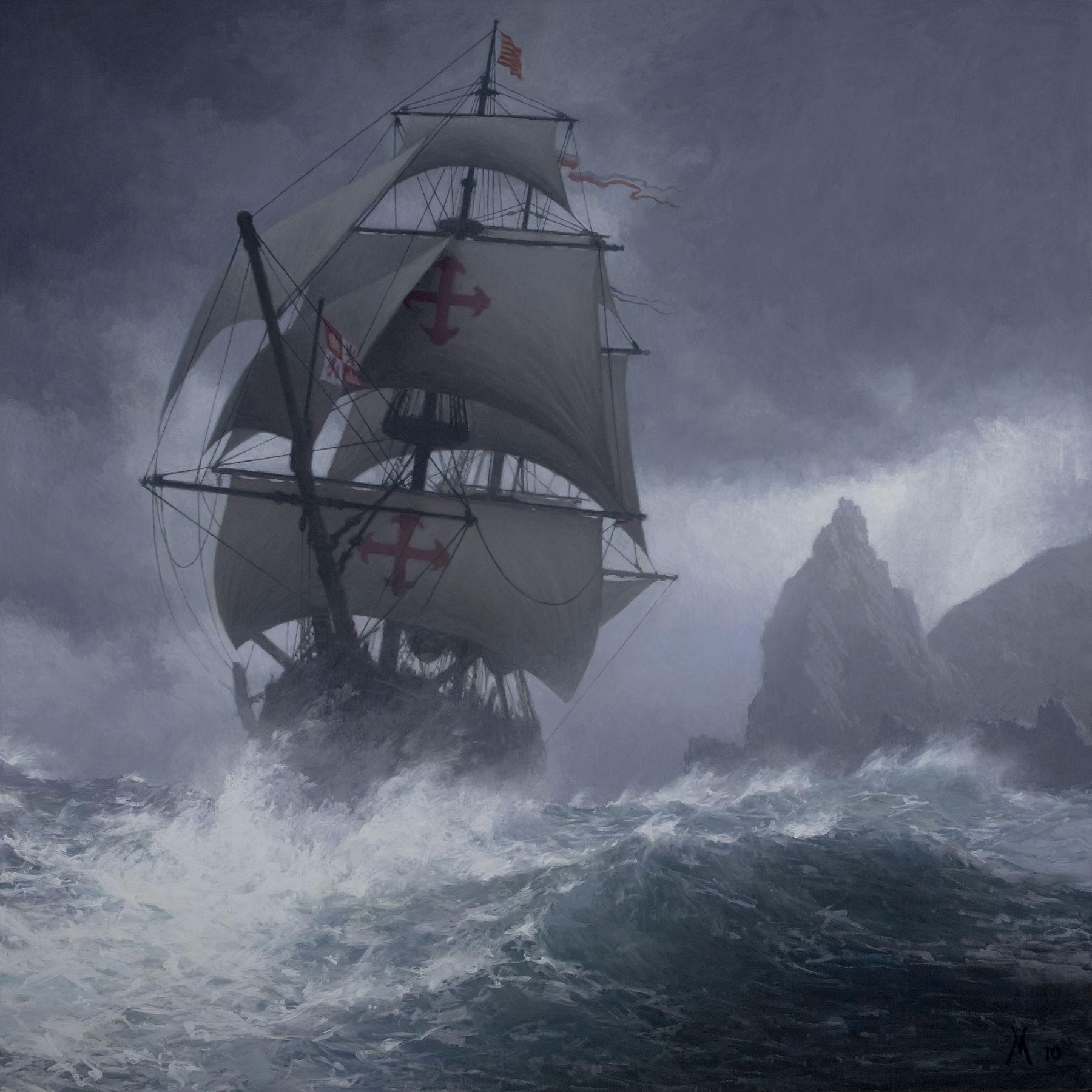 guillermo munoz vera, Cape Horn, 2010, oil on canvas mounted on panel, 59 x 59 inches