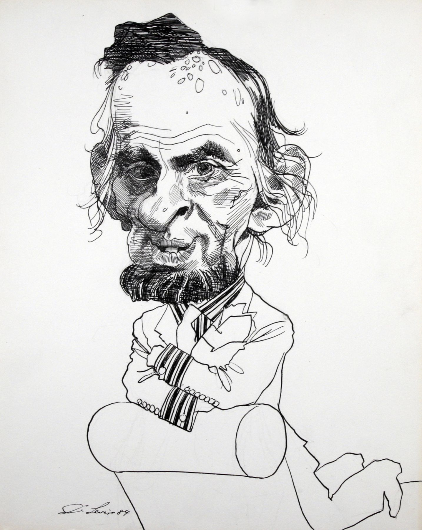 David Levine, Abraham Lincoln, 1984, ink on paper, 13 1/2 x 11 inches