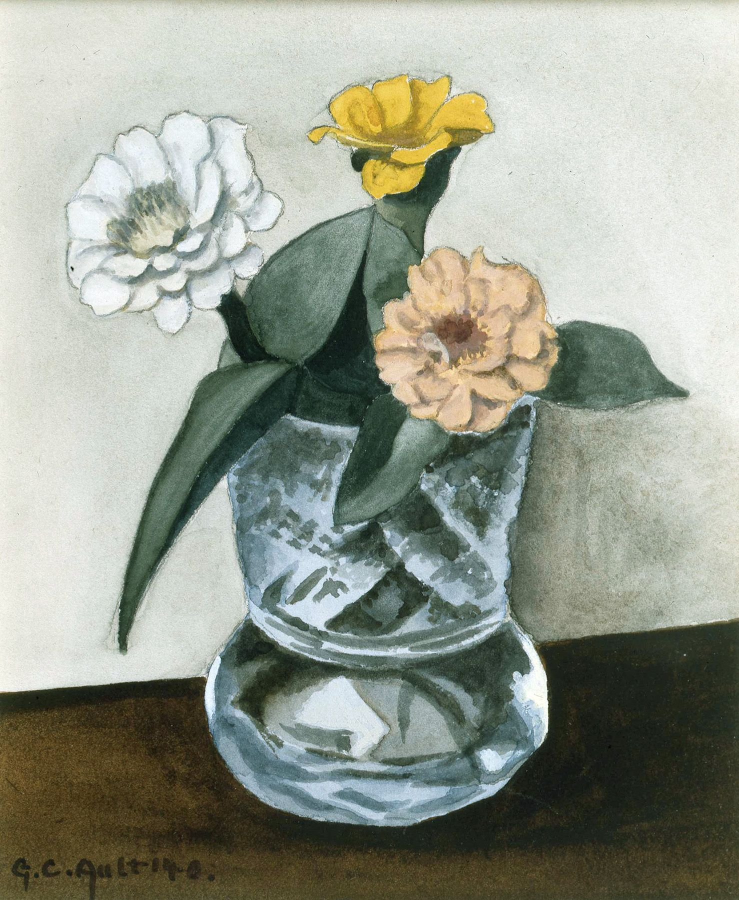 George Copeland Ault, Little Zinnias, 1940, watercolor on paper, 6 x 5 inches
