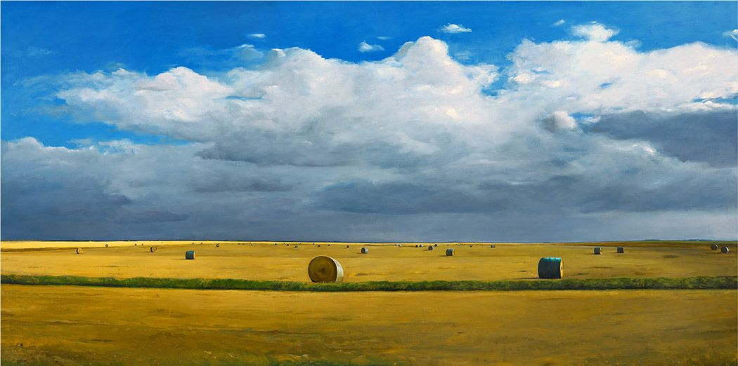 William Beckman, Bales (SOLD), 2016, oil on panel, 48 x 96 x 4 inches