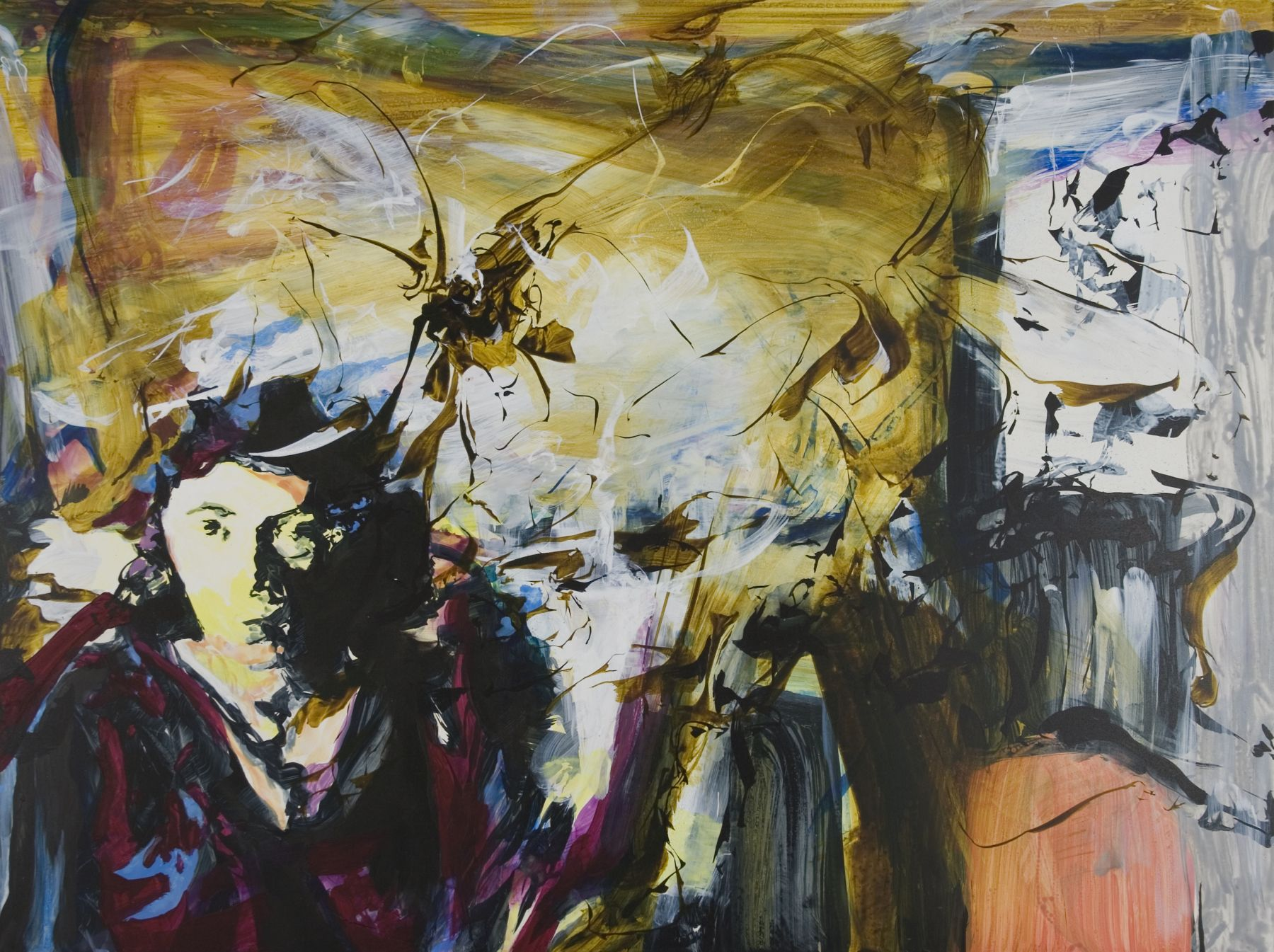 Kim Piotrowski, If Not For You (Joan Mitchell), 2018, acrylic ink and flashe on panel, 18 x 24 inches
