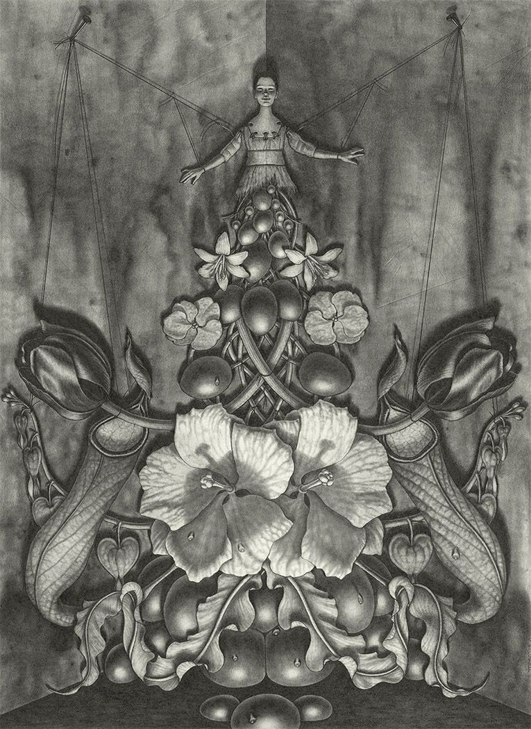 maria tomasula, We Eat The Sun, 2018, graphite on paper, 22 x 16 inches