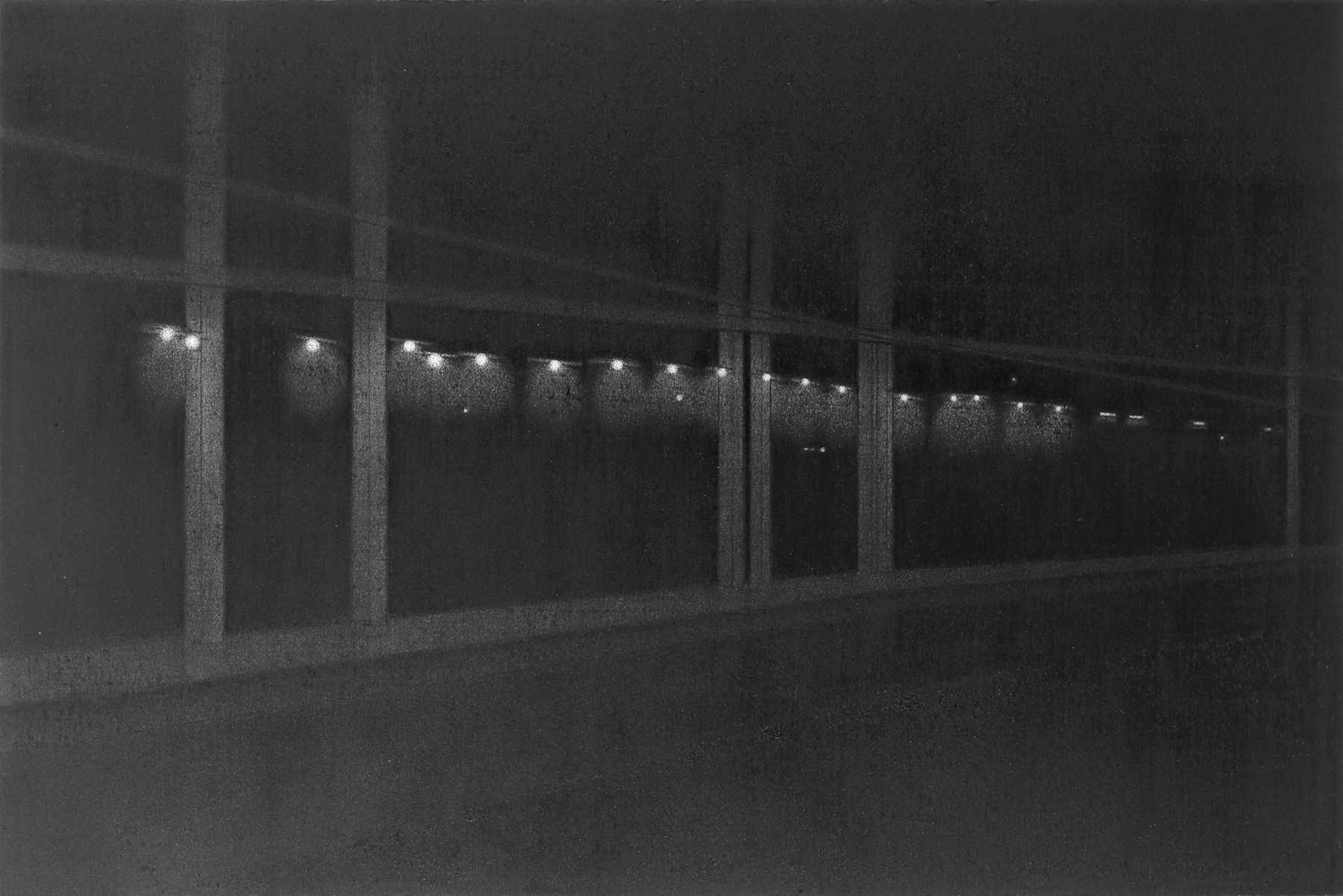 anthony mitri, 10:37 P.M., Penn Station, NY, NY, 2006, charcoal on paper, 12 1/4 x 18 3/8 inches