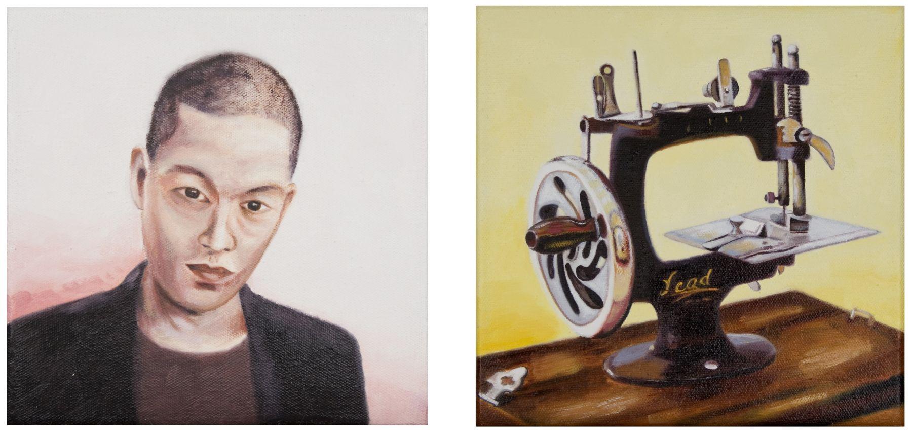 Megan Rye, Jason Wu / Sewing Machine (diptych), 2018, oil on canvas, 8 x 8 inches, each canvas