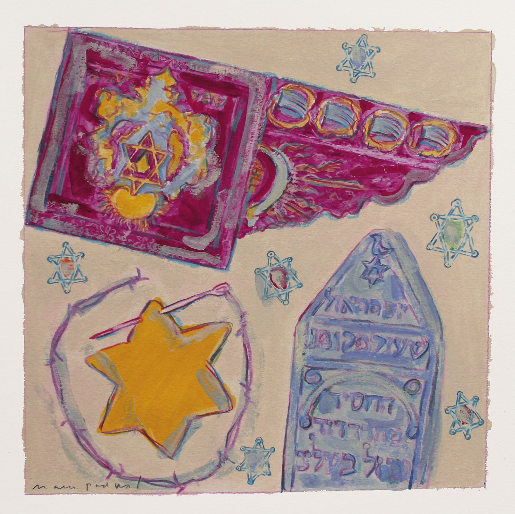 Mark Podwal, Stars of David, 2008, acrylic, gouache and colored pencil on paper, 12 x 12 inches