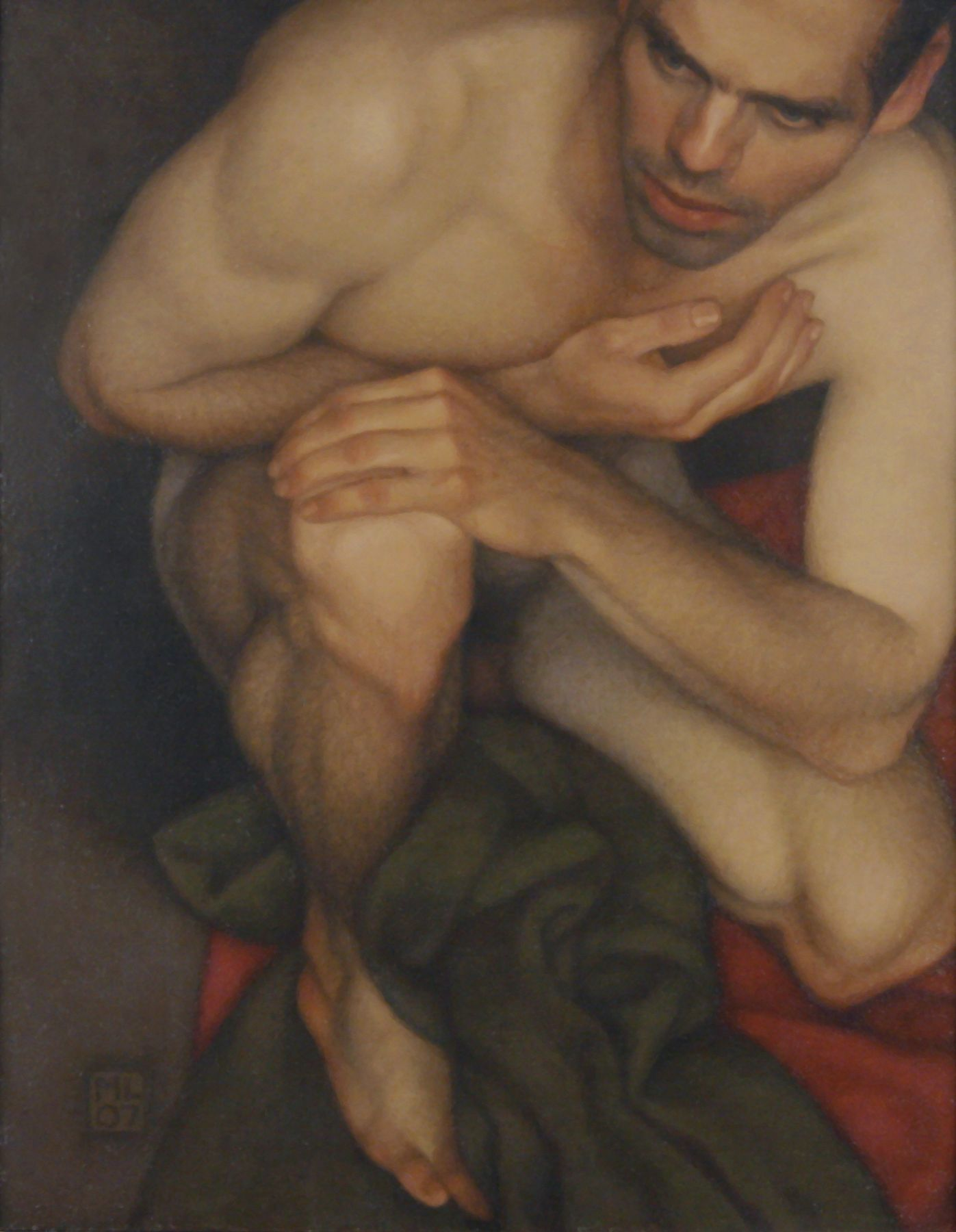 Michael Leonard, Crouching Man (SOLD), 2007, alkyd-oil on masonite, 22 x 17 inches