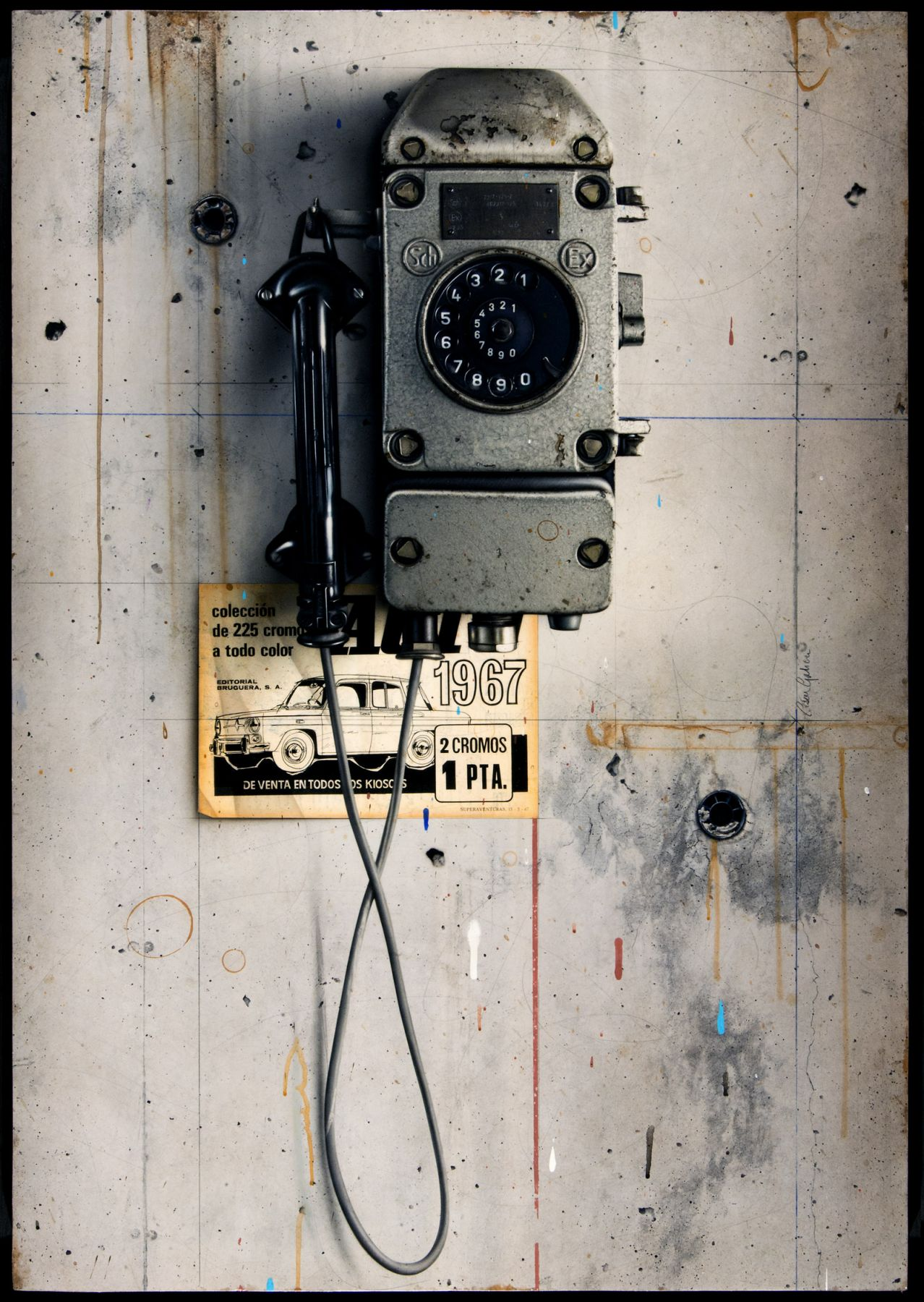 cesar galicia, Telephone (SOLD), 2012, mixed media on board, 36 1/4 x 25 1/4 inches