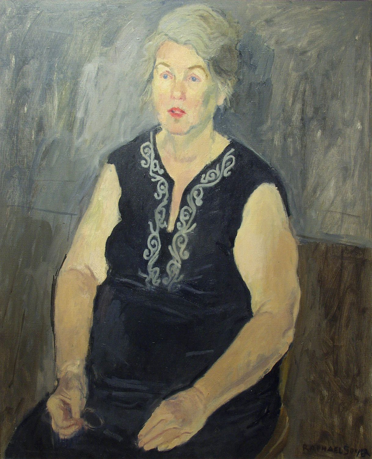 Raphael Soyer, Alice Neel (SOLD), 1971, oil on canvas, 32 x 26 inches