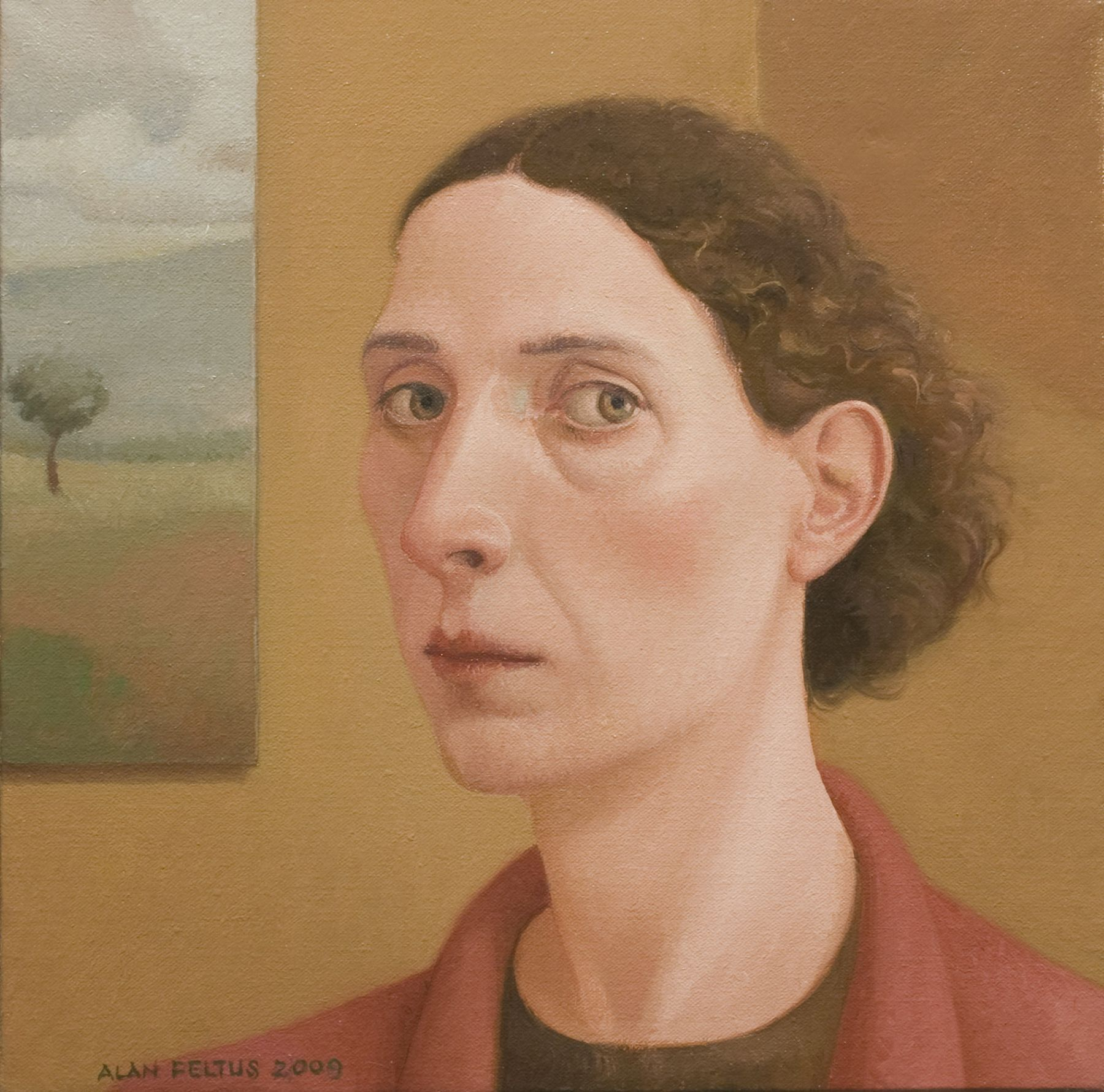 alan feltus, Sandra, 2009, oil on canvas, 13 3/4 x 13 3/4 inches