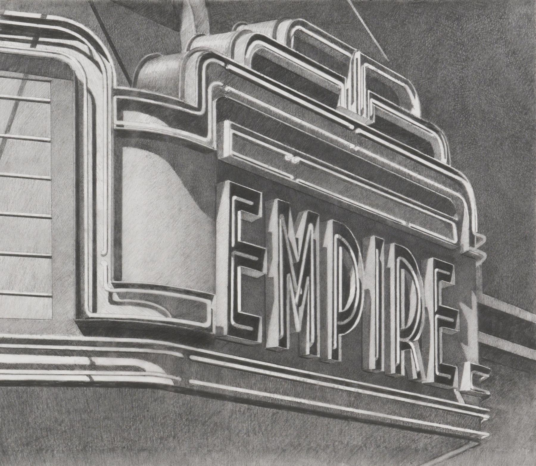 robert cottingham, Empire, 2008, graphite on vellum, 18 7/8 x 22 3/4 inches