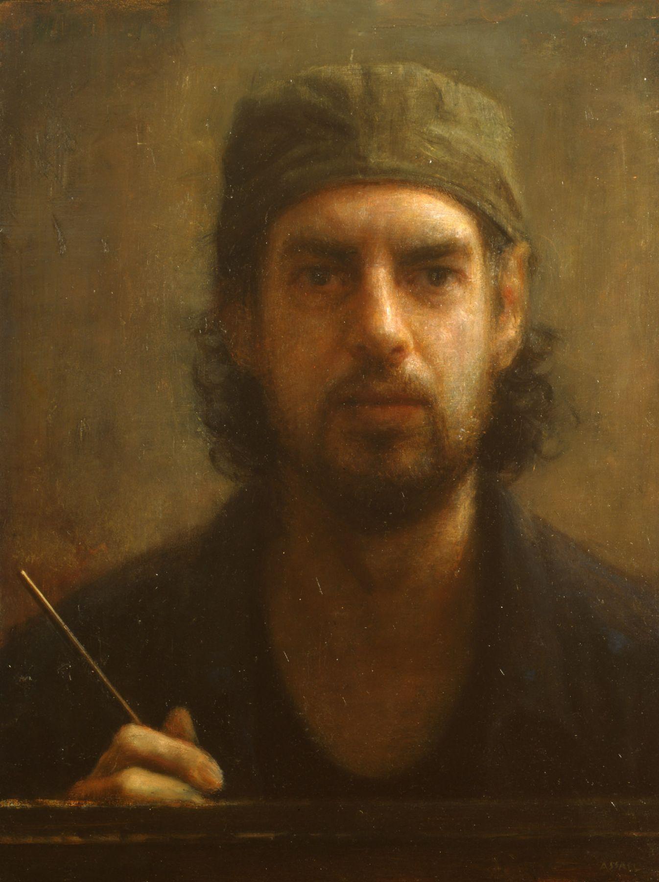Steven Assael, Self-Portrait, 2007, oil on board, 16 x 12 inches