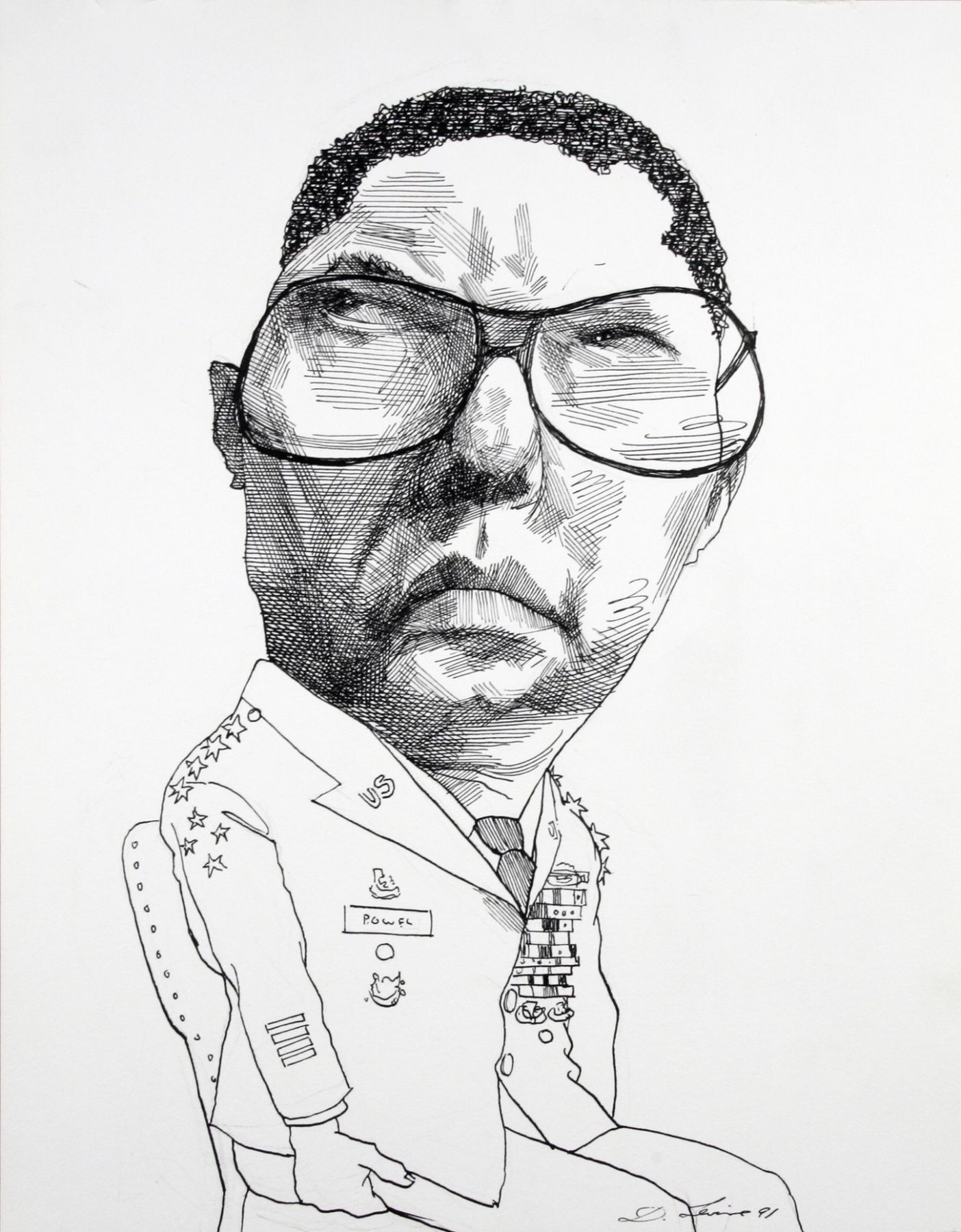David Levine, Gen. Colin Powell, 1991, ink on paper, 14 x 11 inches