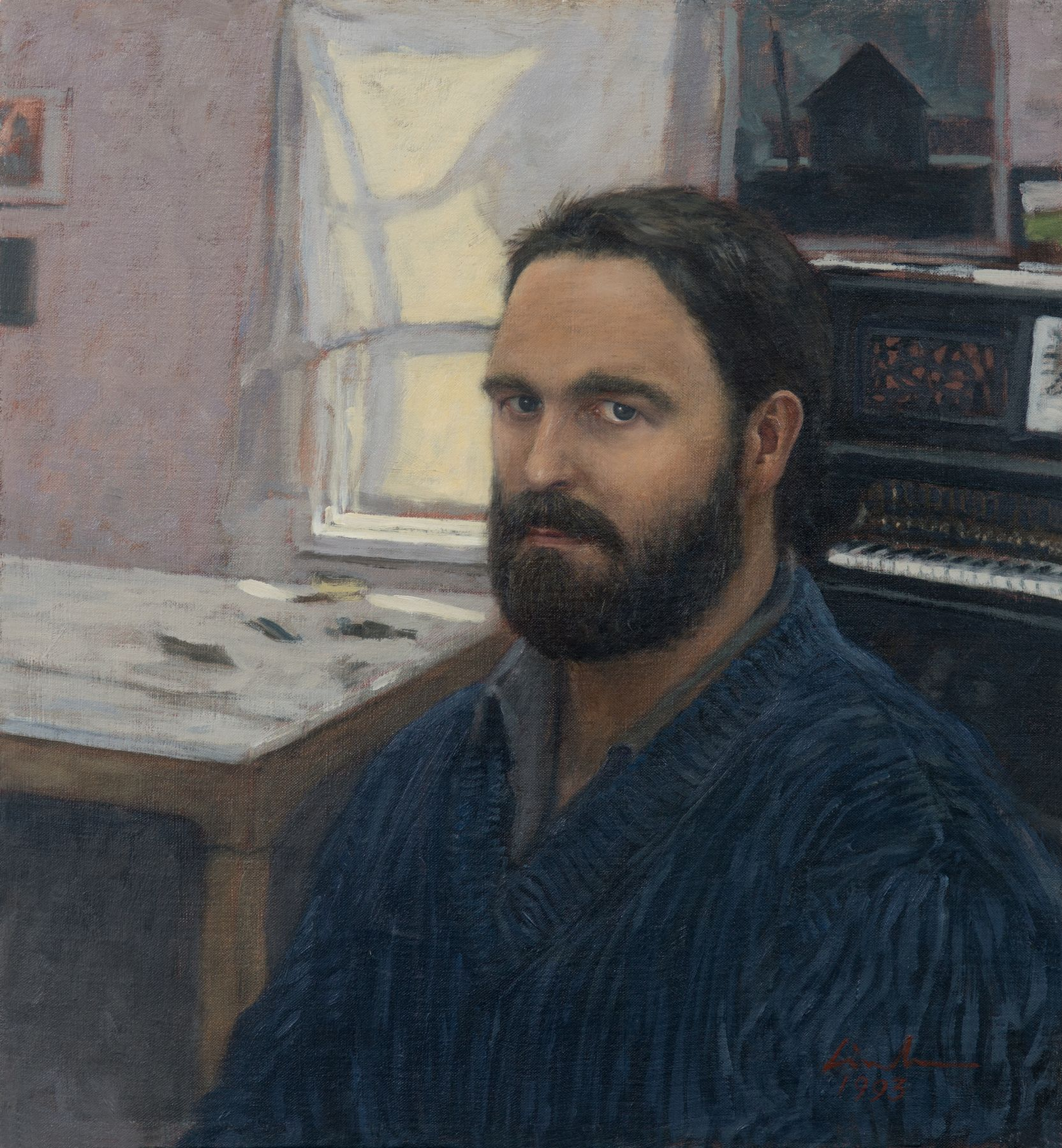 Linden Frederick, Self Portrait with Piano (SOLD), 1993, oil on linen, 13 x 14 inches