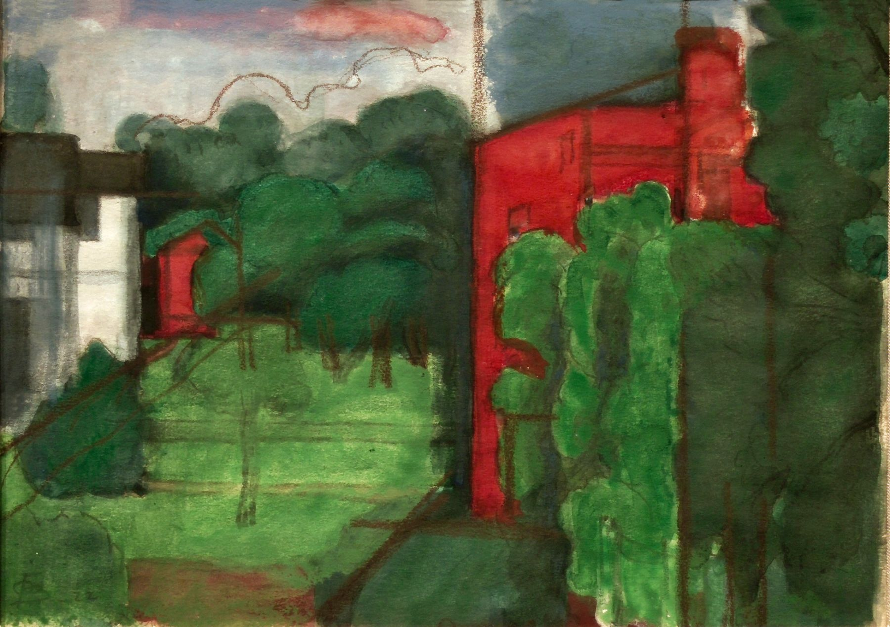 Oscar Bluemner, Irvington-Union, 1922, watercolor and gouache over charcoal on paper, 4 7/8 x 6 5/8 inches
