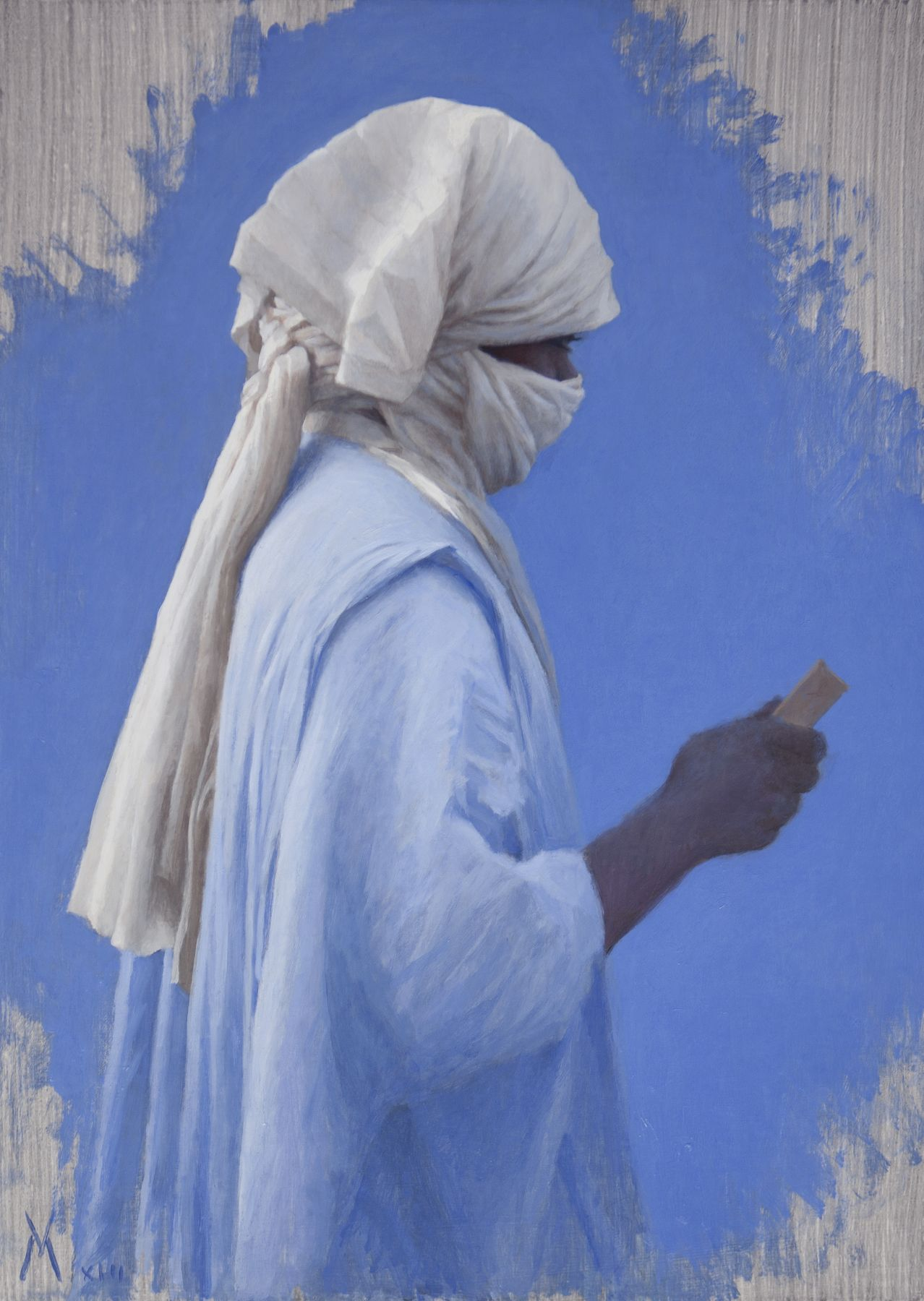 Guillermo Muñoz Vera, Study for a Man from Mali, Timbuktu (SOLD), 2013, oil on canvas mounted on panel, 27 1/2 x 19 5/8 inches