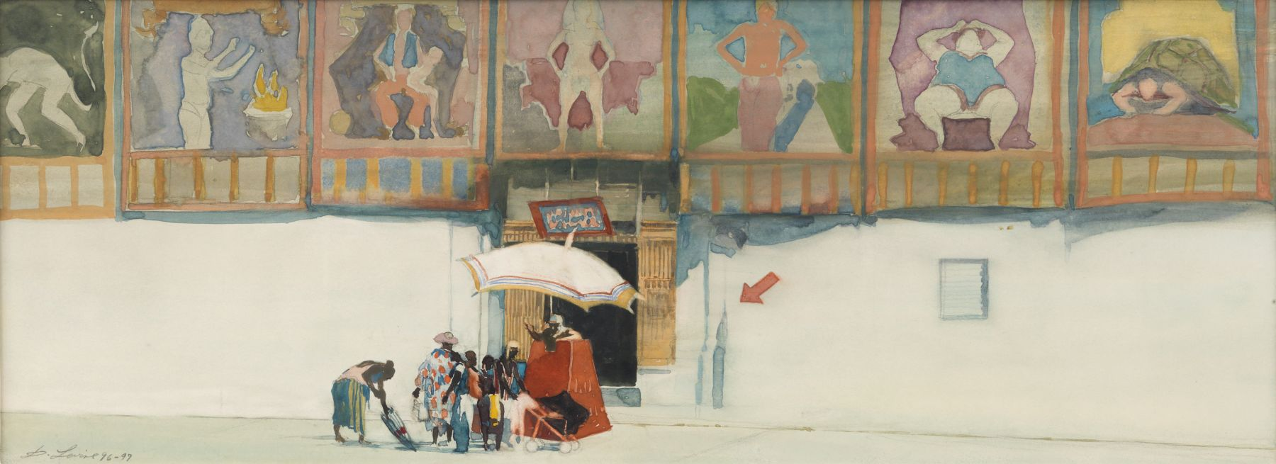 david levine, Street of Freaks, 1996-97, watercolor, 7 3/8 x 20 inches, Private collection, Greenwich, CT