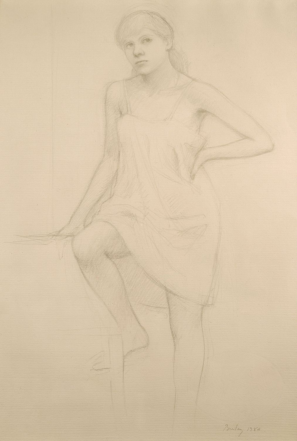William Bailey, Model Seated with Slip, 1984, graphite on paper, 18 1/2 x 12 1/2 in.