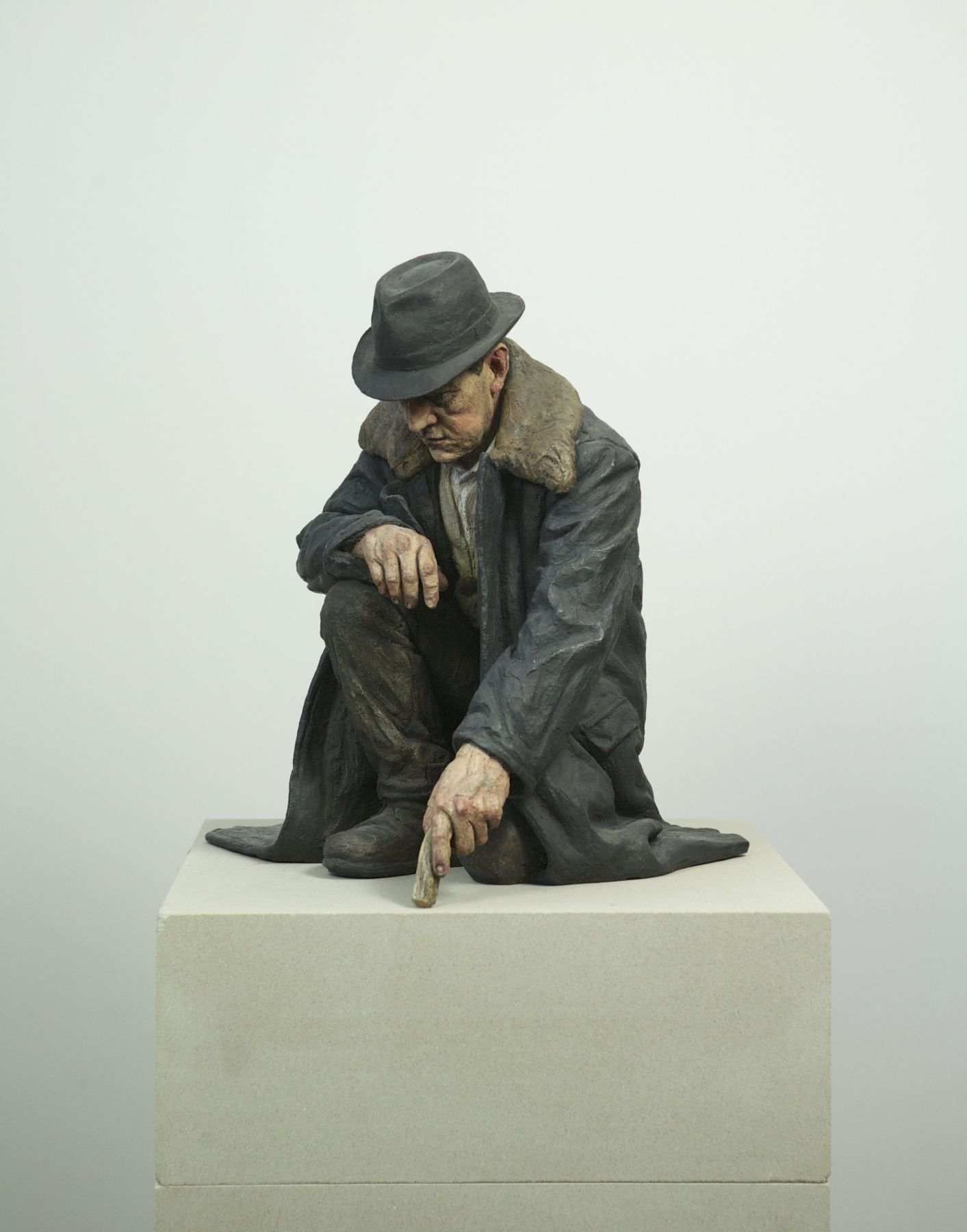 Sean Henry, The Way It Will Be, 2014, bronze, oil paint, 20 x 17 x 16 inches, Edition of 6