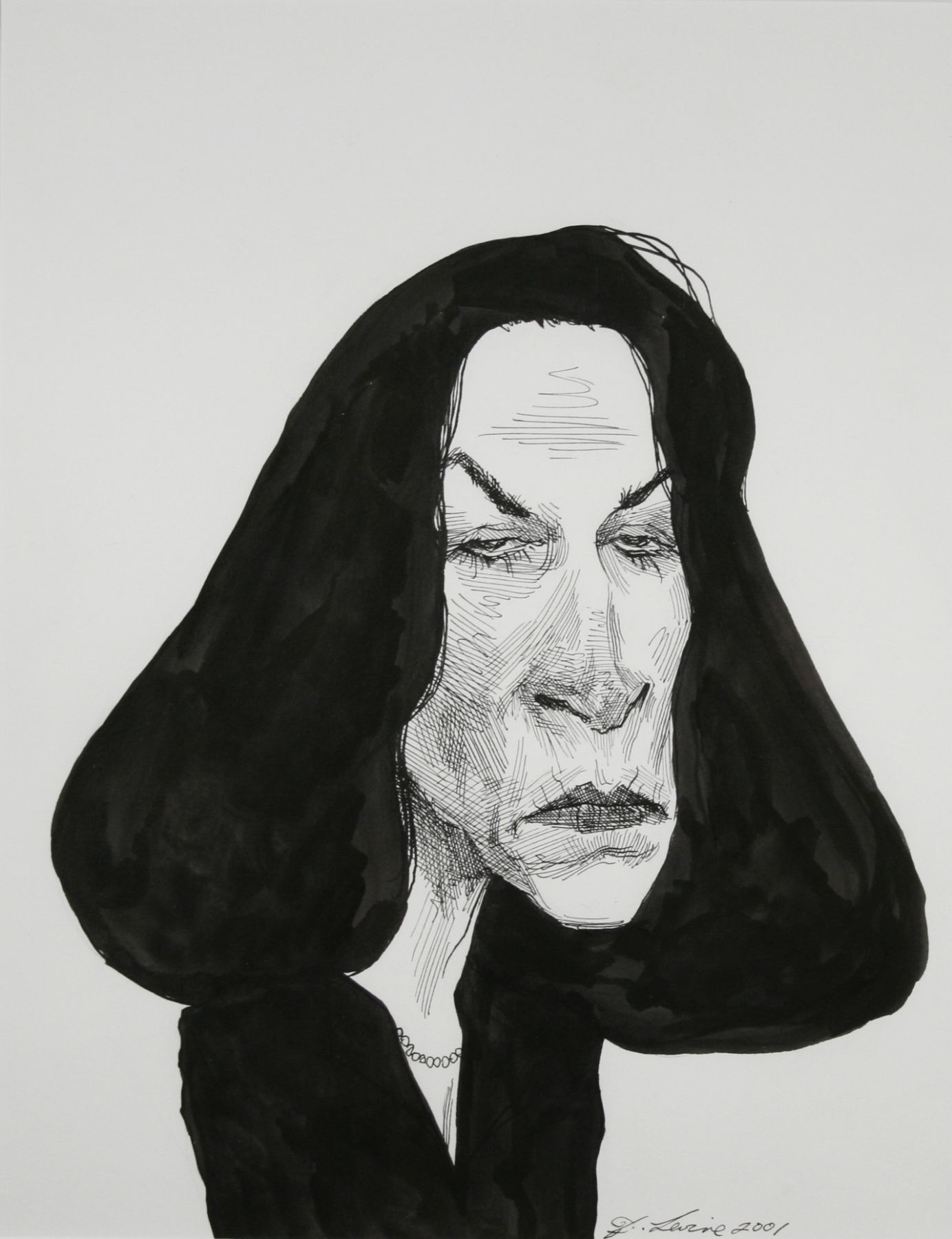 David Levine, Secretary of State - Florida Katherine Harris, 2001, ink on paper, 14 x 11 inches